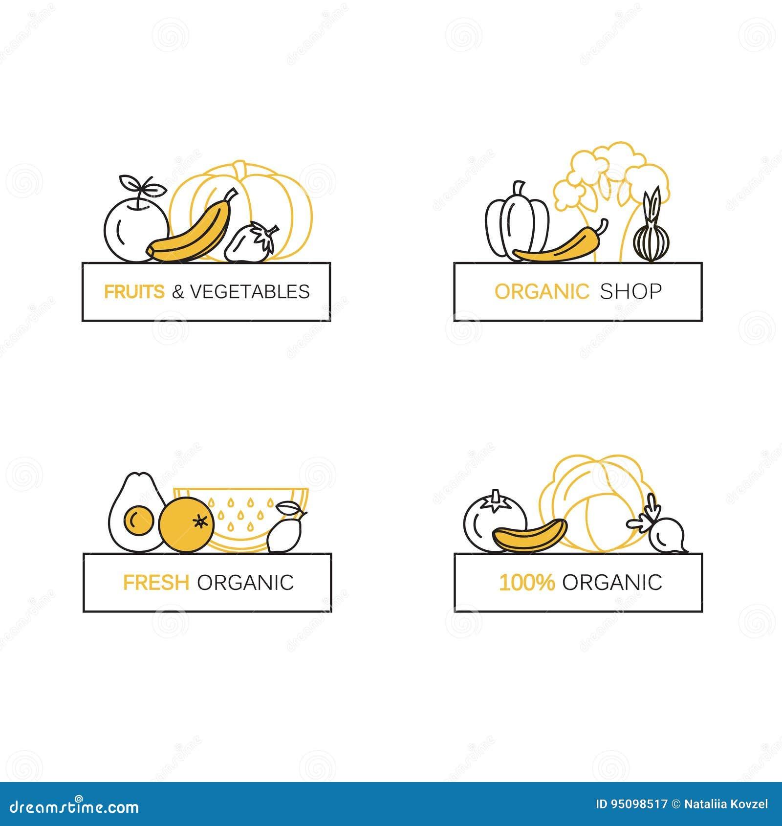 Wektorowy ustawiający loga projekta szablony w kreskowym ikona stylu dla organicznie produktów - owoc i warzywo symbole