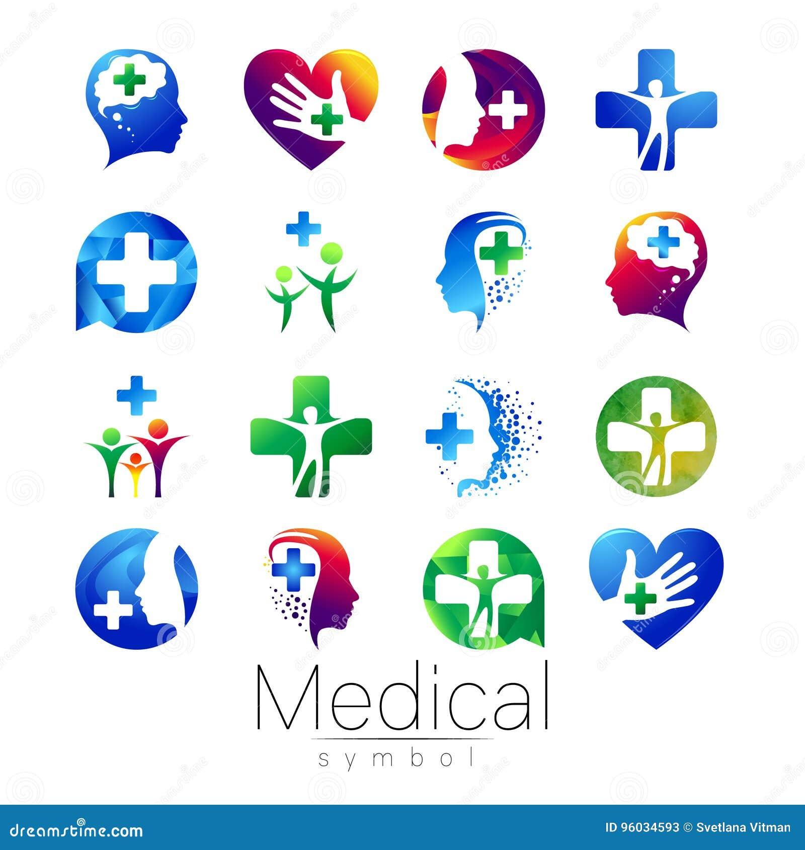 Wektorowy USTAWIAJĄCY medyczny znak z krzyżem inside, istota ludzka profil Symbol dla lekarek, strona internetowa, wizyty karta,