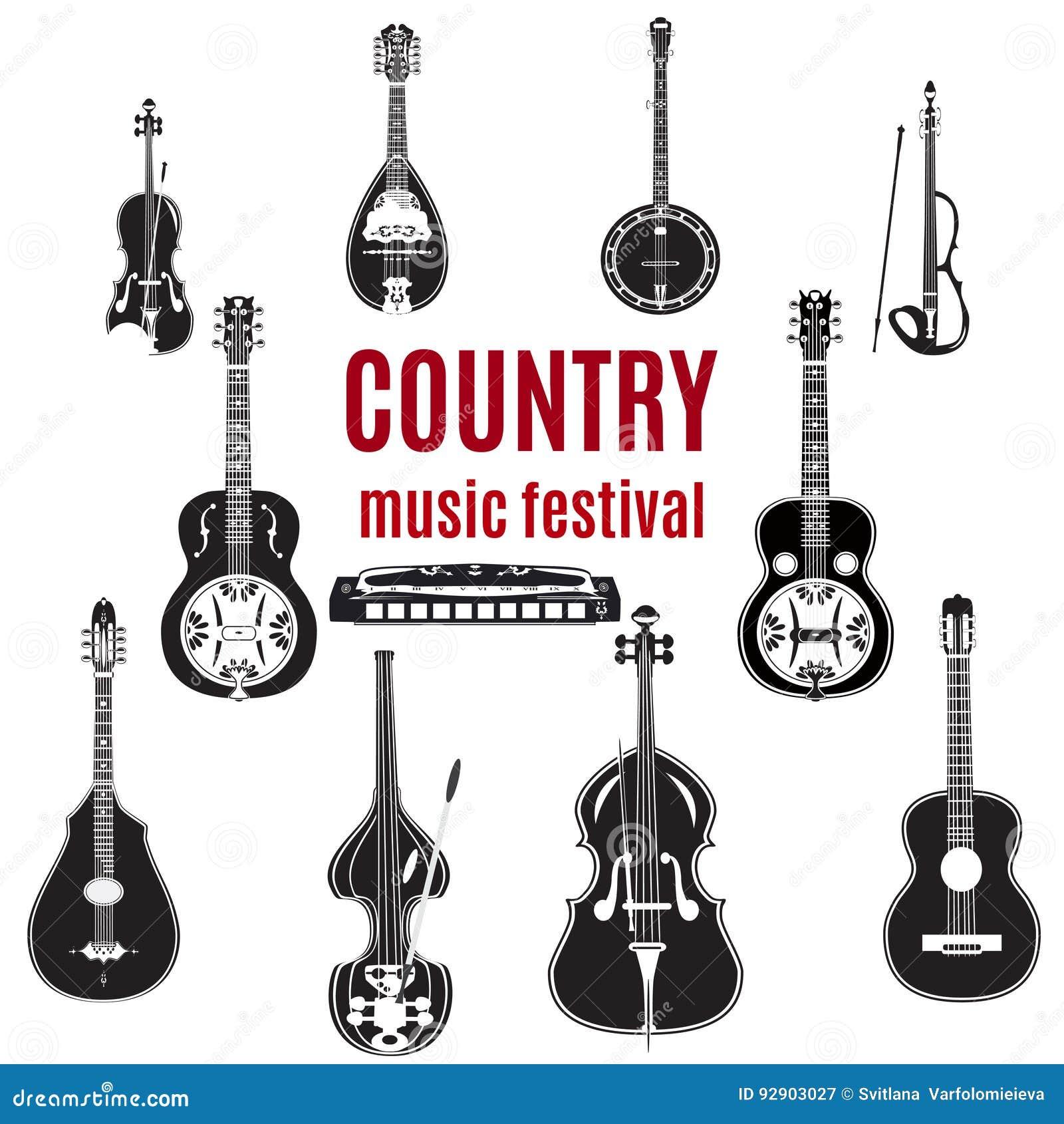 Wektorowy ustawiający muzyka country instrumenty, czarny i biały płaski projekt