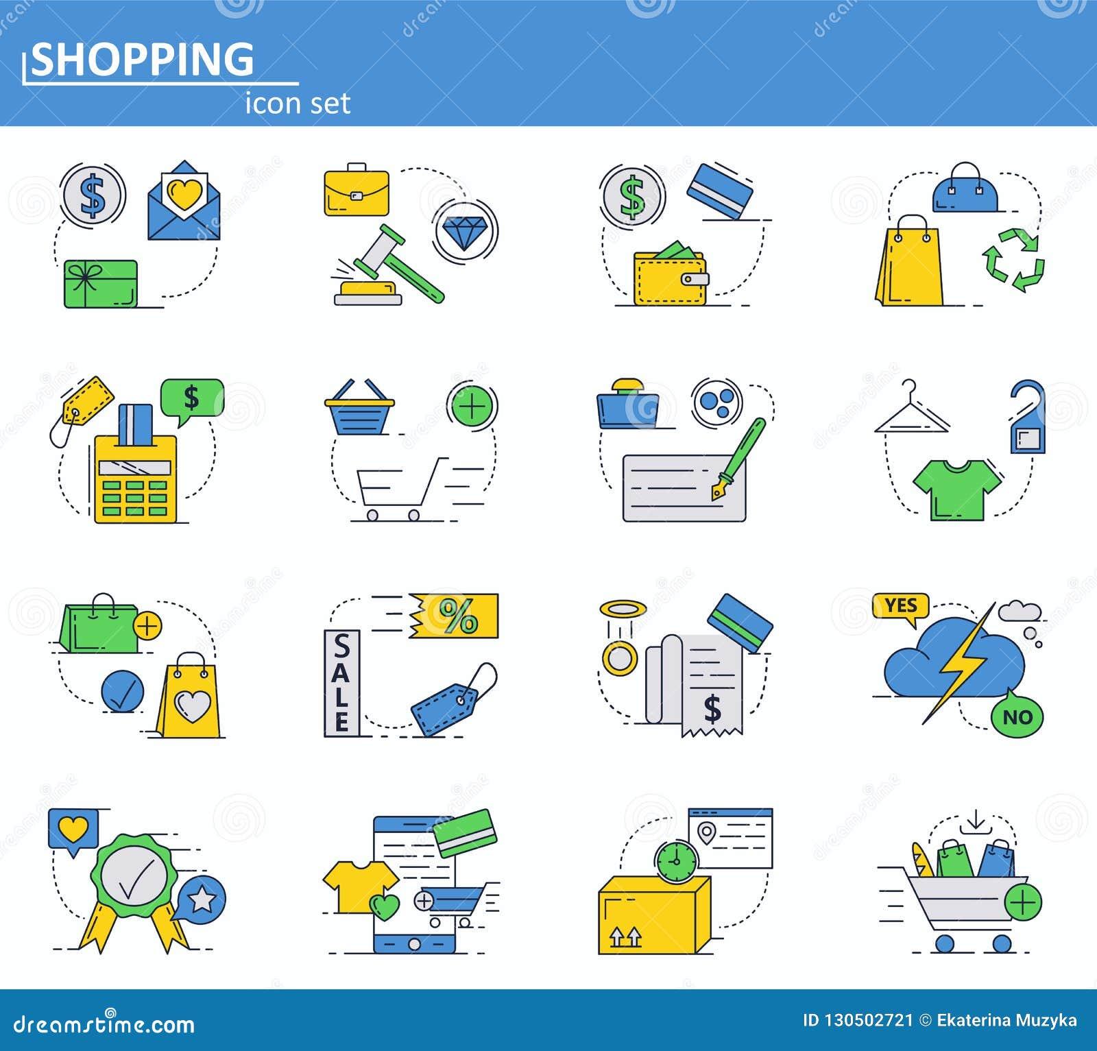 Wektorowy ustawiający Online zakupy i cyfrowe zapłat ikony w cienkim kreskowym stylu Strona internetowa UI i mobilna sieci app ik