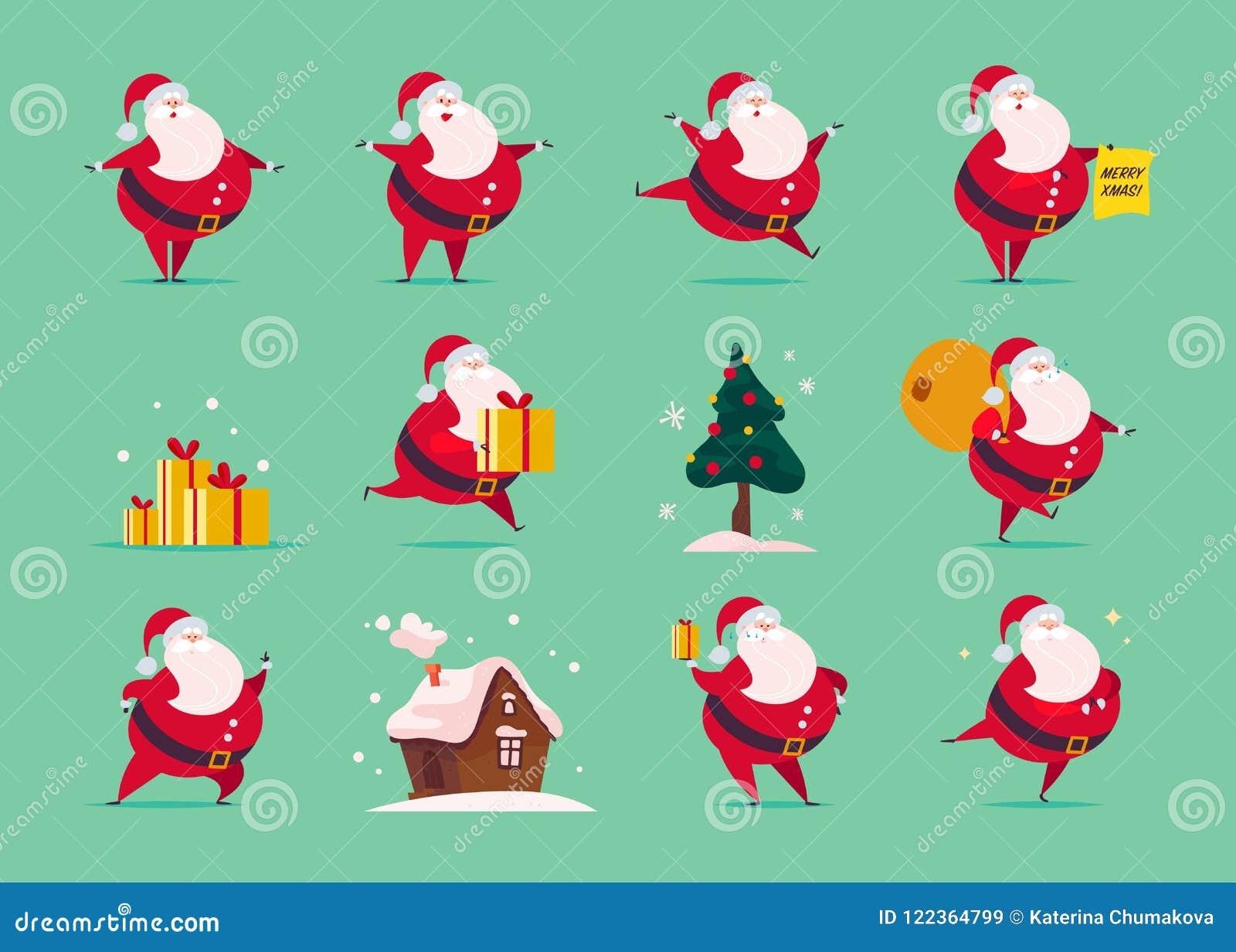 Wektorowy ustawiający płaski śmieszny Święty Mikołaj charakter odizolowywający na zielonym tle - stoi, niesie, teraźniejszość zdo