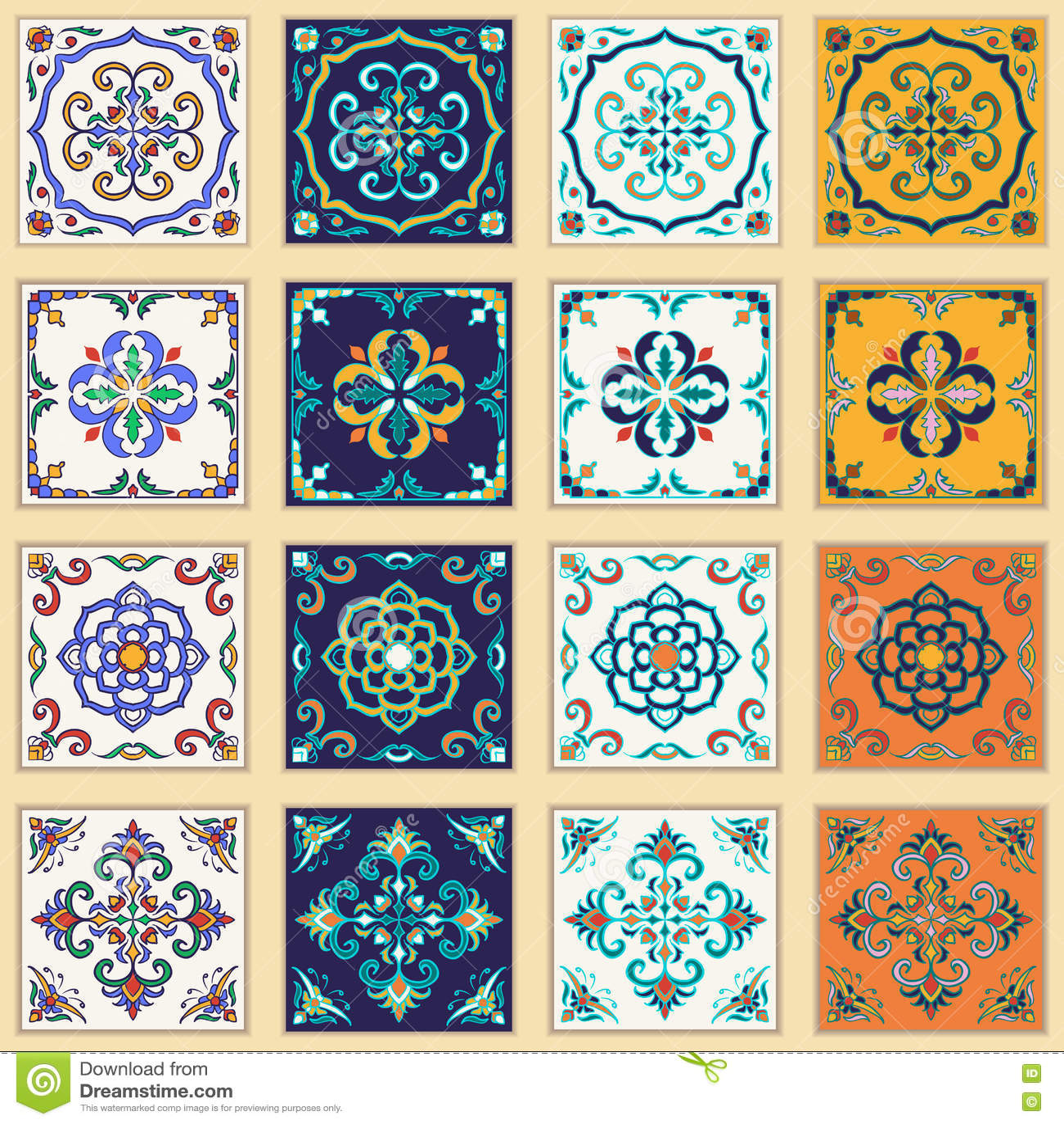 Wektorowy ustawiający Portugalskie płytki Piękni barwioni wzory dla projekta i mody