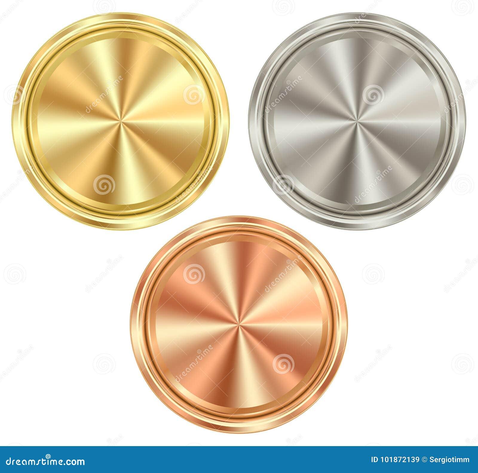 Wektorowy ustawiający puste round monety złoto, srebro, brąz który c,