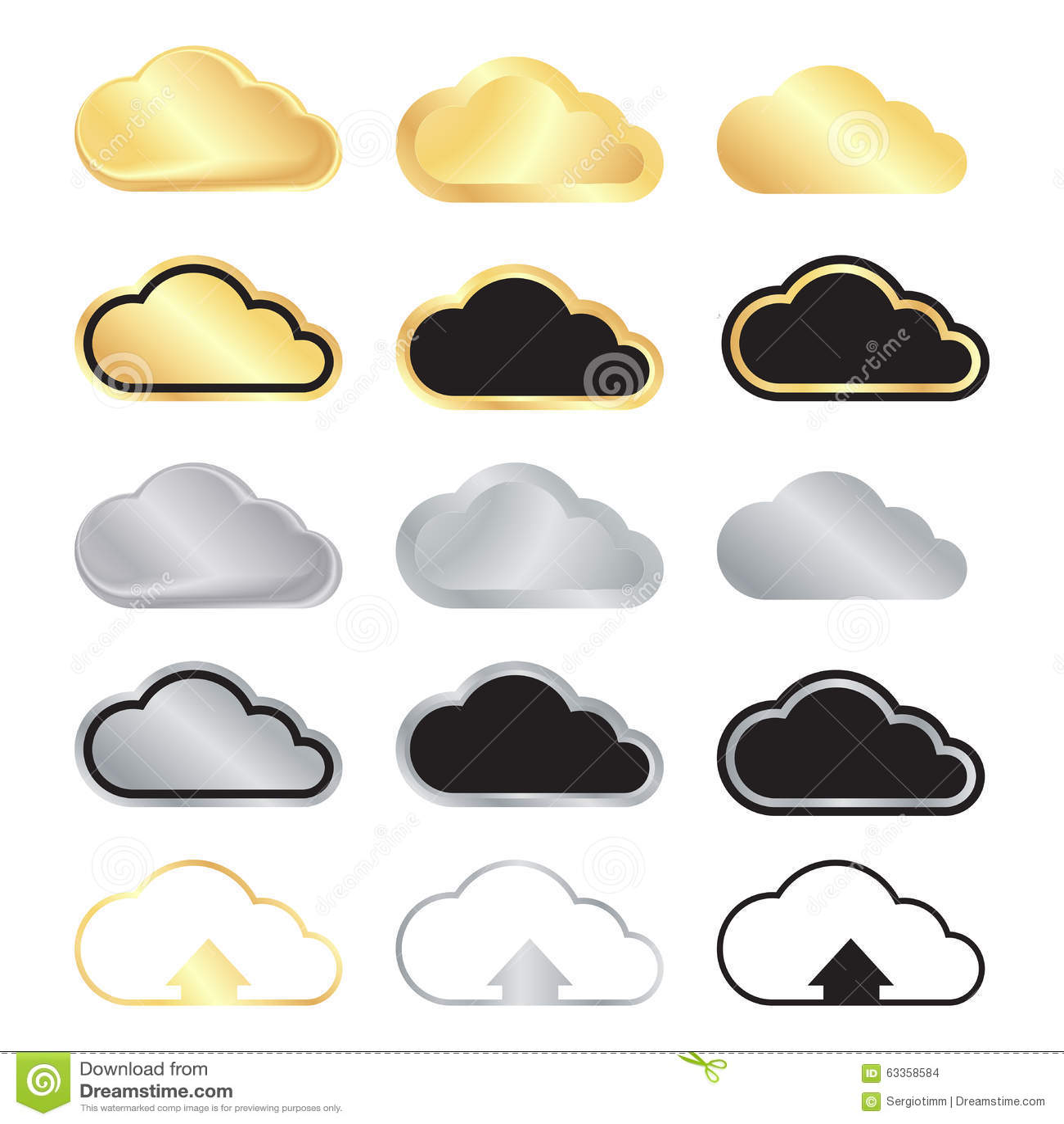 Wektorowy ustawiający pusty złoto, srebra czerń z złotem a i chmury i