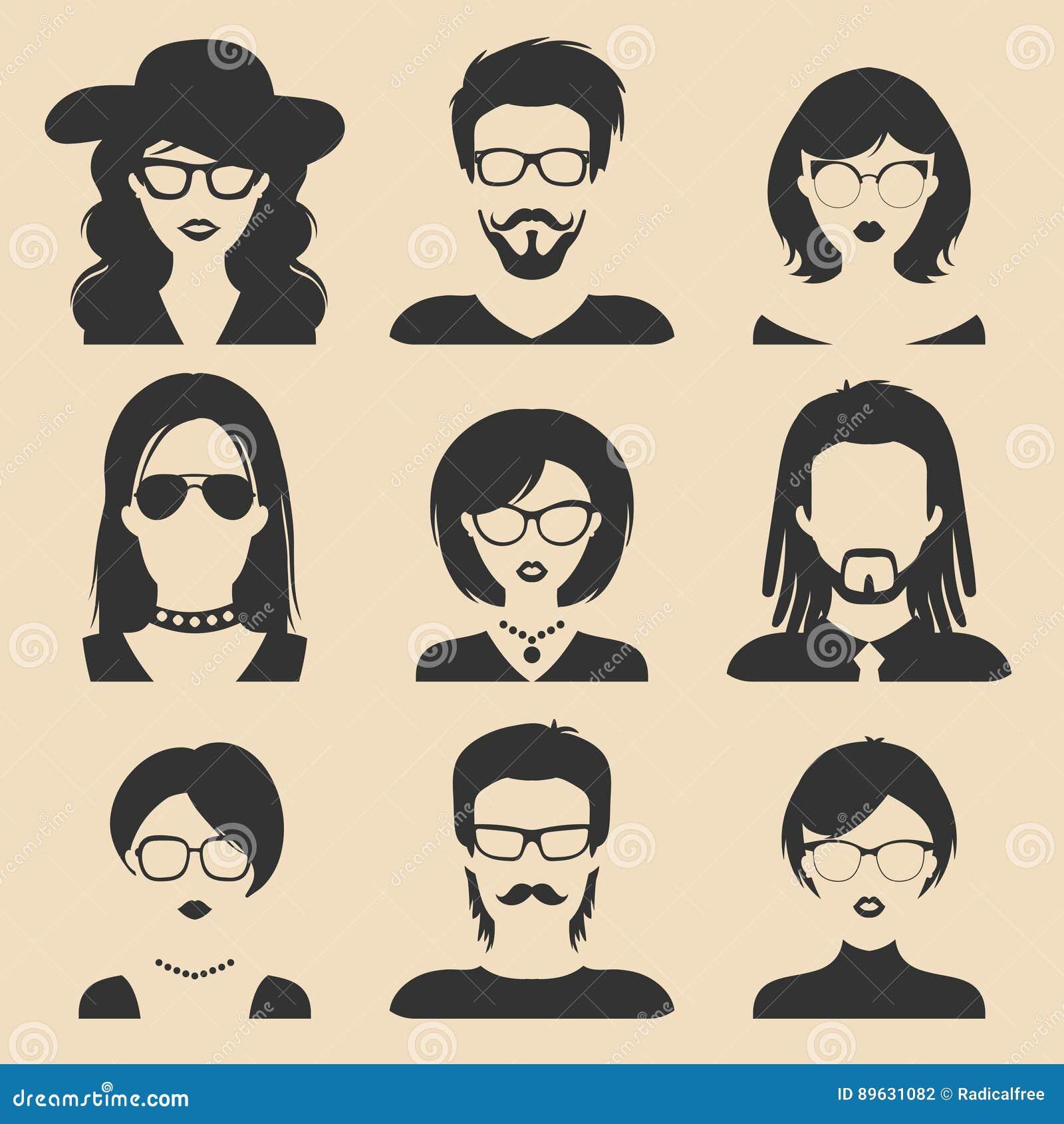 Wektorowy ustawiający różne męskie i żeńskie ikony w modnym mieszkanie stylu Ludzie stawiają czoło wizerunki inkasowych i przewod
