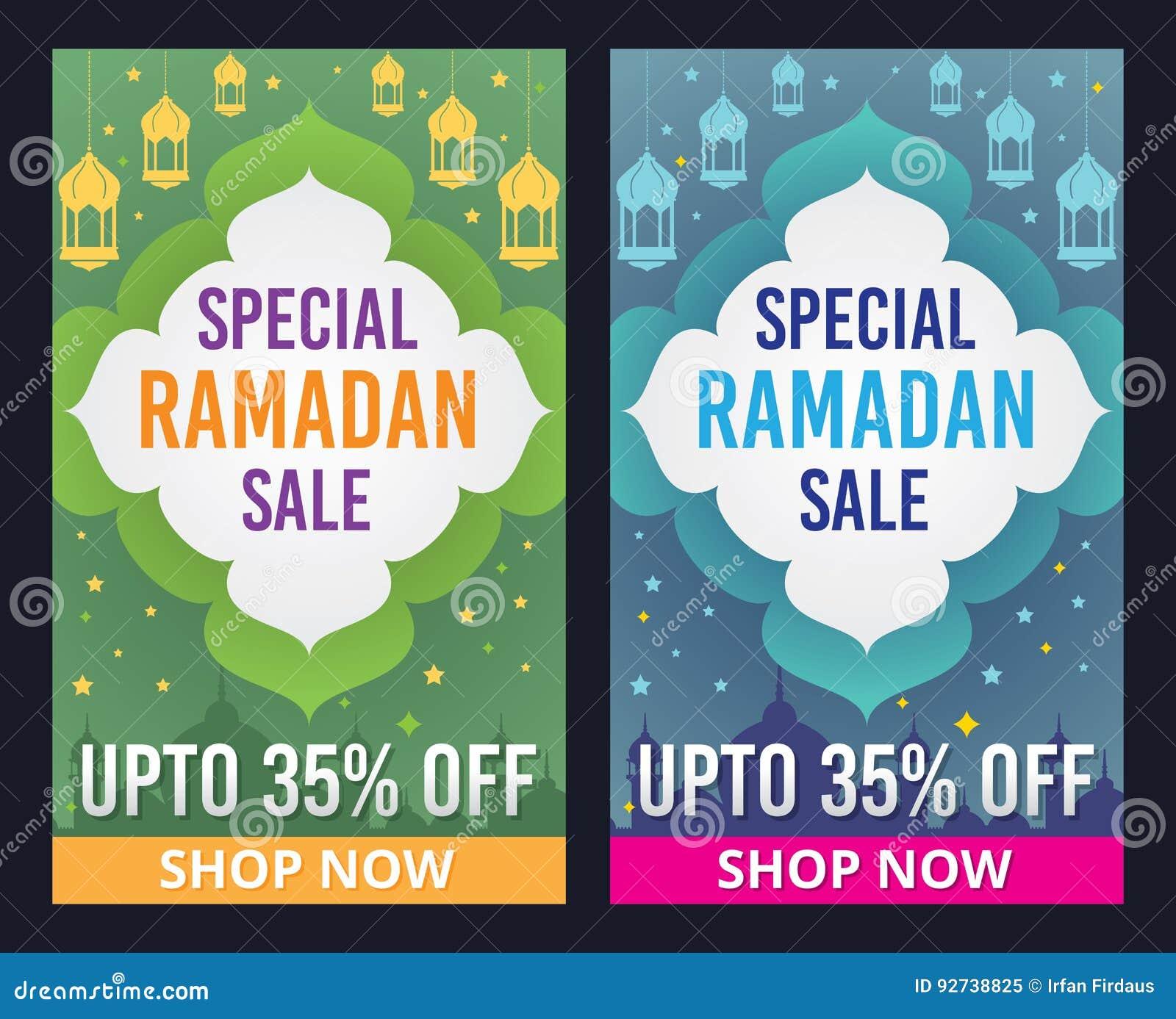 Wektorowy ustawiający Ramadan Kareem sprzedaży sztandar