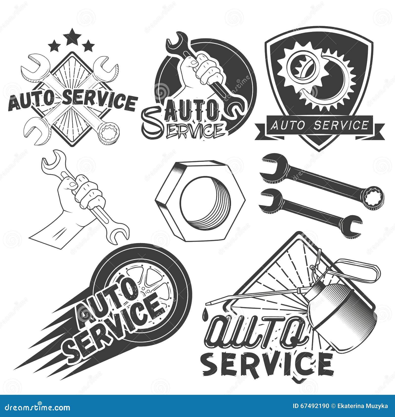 Wektorowy ustawiający samochód usługa etykietki w rocznika stylu Samochodowi remontowego sklepu sztandary Mechaników narzędzia od