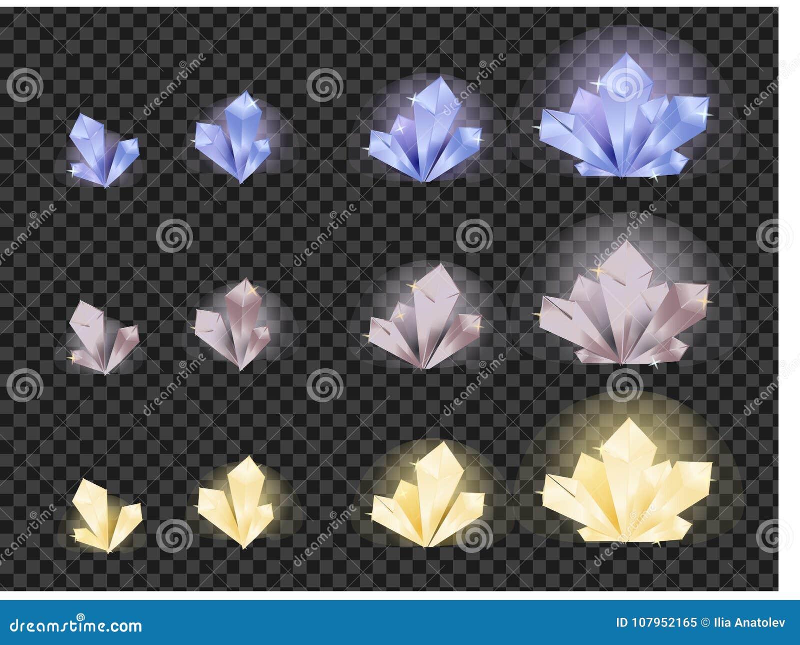 Wektorowy ustawiający szklani kryształy odizolowywający na przejrzystym tle Kryształ ewolucja od małego ampuła
