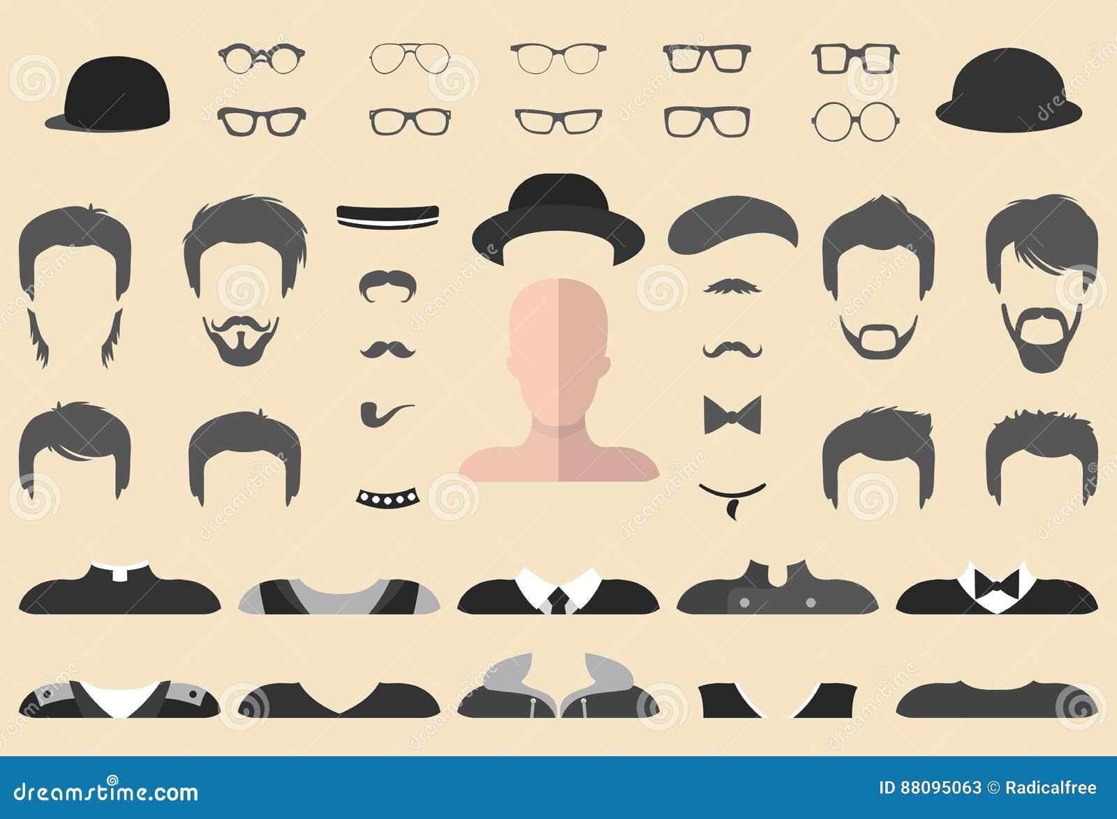 Wektorowy ustawiający ubiera up konstruktora z różnymi szkłami, broda, wąsy, odzież w mieszkanie stylu Samiec stawia czoło ikona