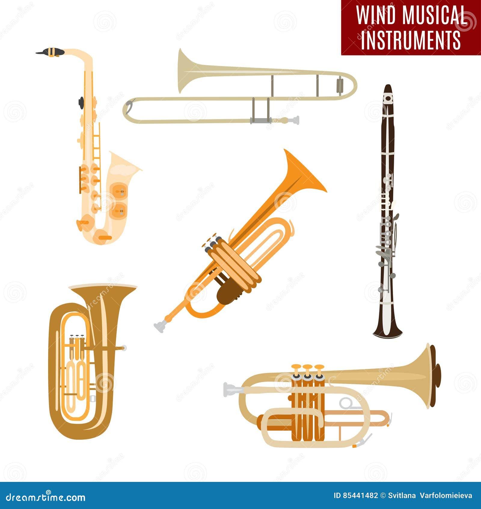 Wektorowy ustawiający wiatrowi instrumenty muzyczni na białym tle