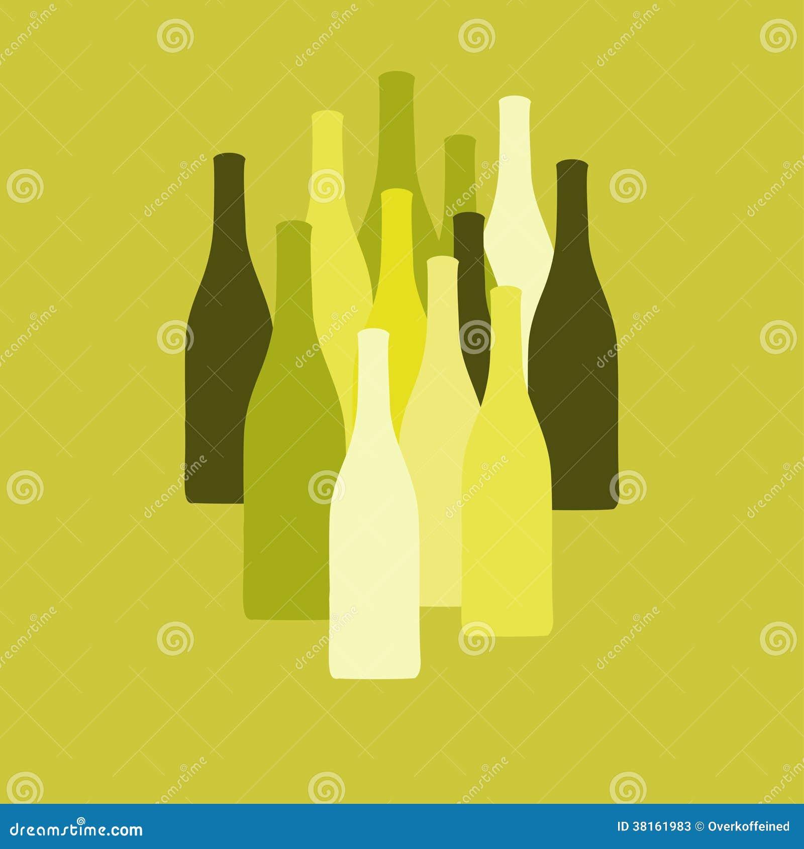 Wektorowy ustawiający wina lub octu butelek sylwetki