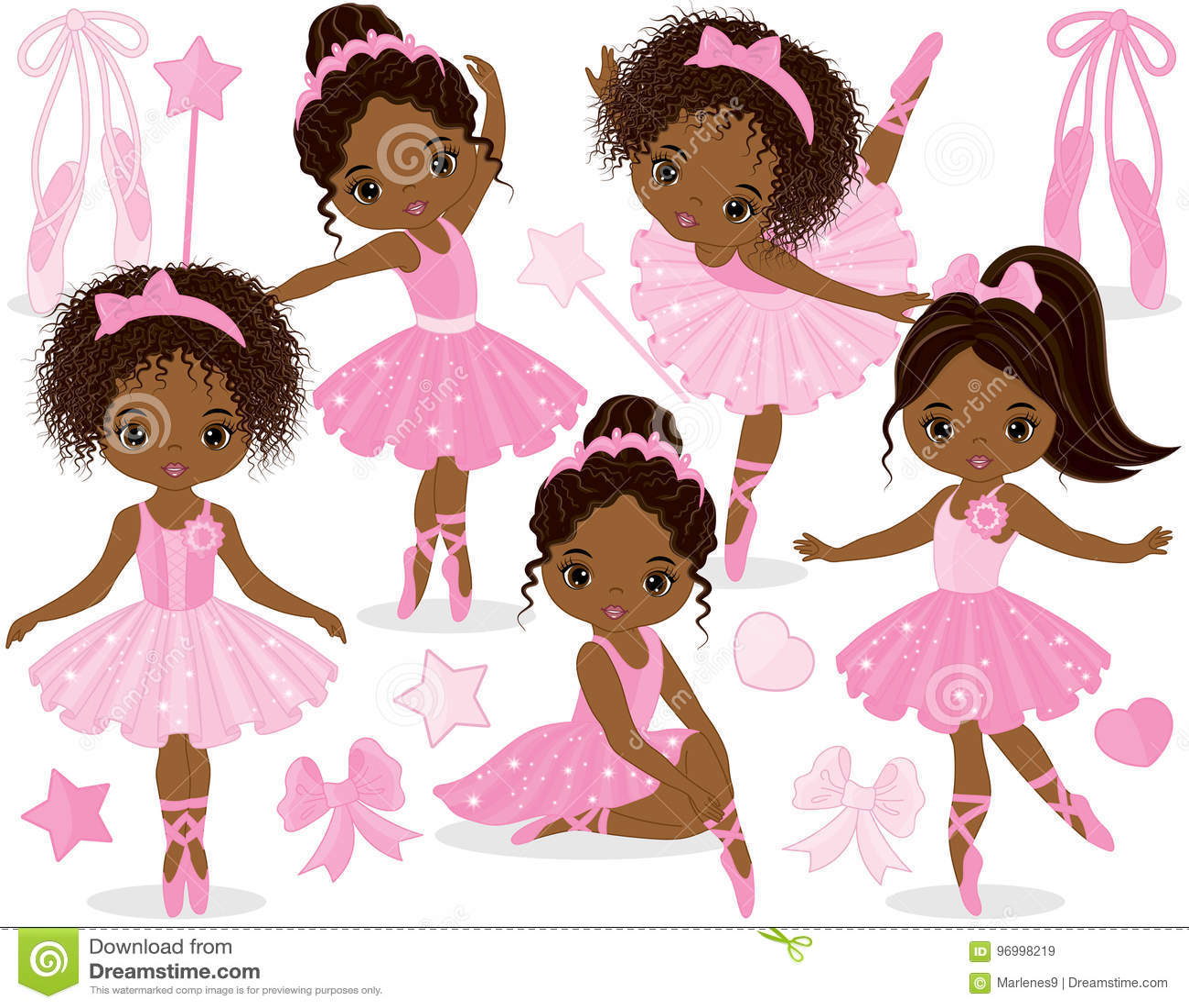 Wektorowy Ustawiający z Ślicznymi Małymi amerykanin afrykańskiego pochodzenia balerinami