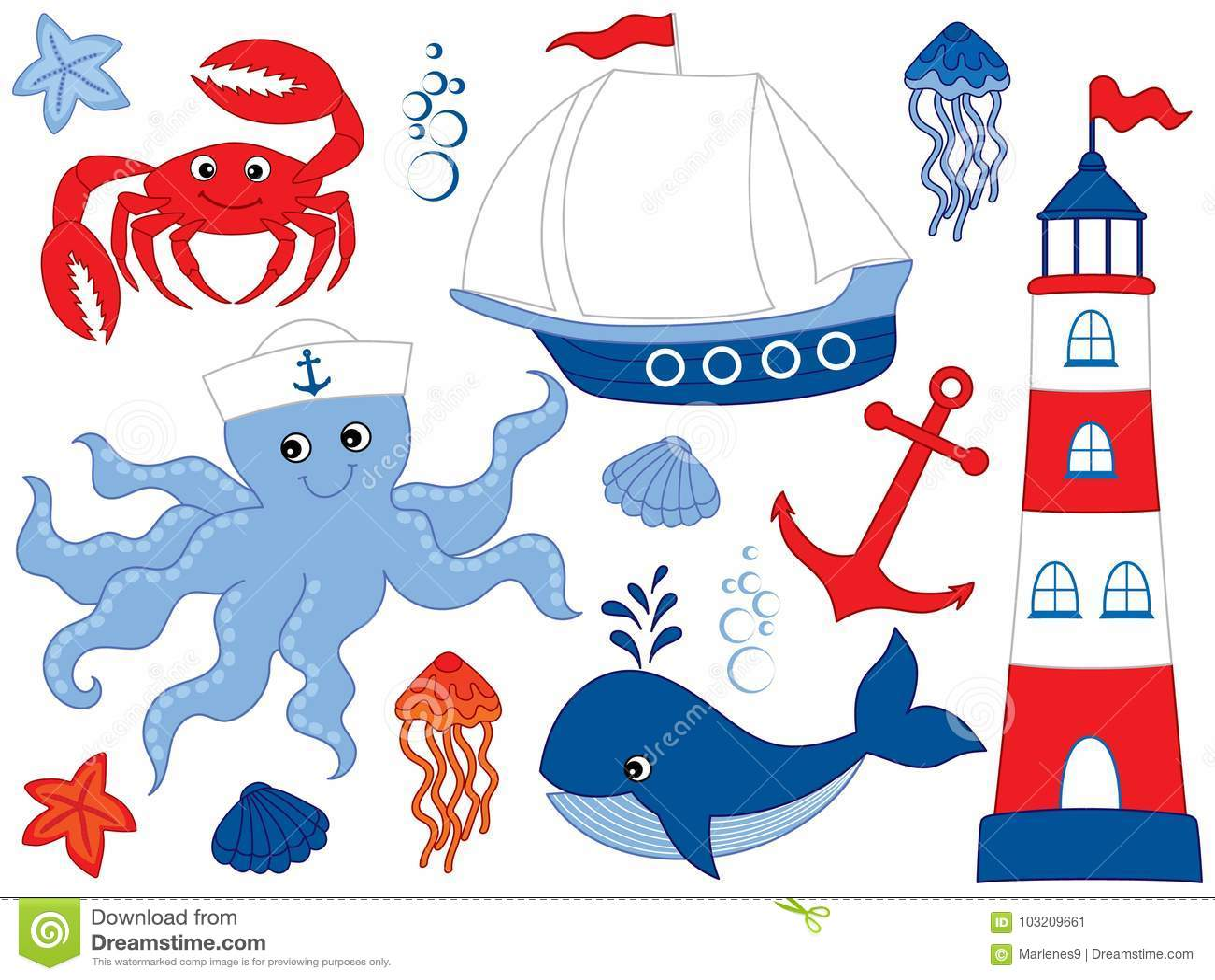 Wektorowy Ustawiający z Morskimi zwierzętami i przedmiotami
