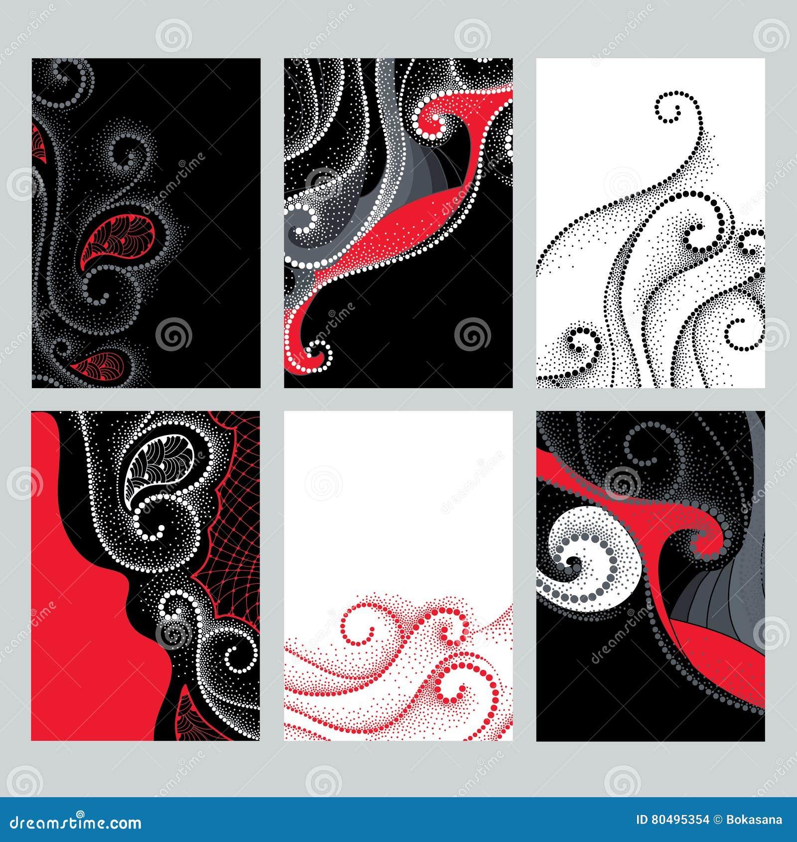 Wektorowy ustawiający z projekt ilustracjami w dotwork stylu Elegancja kropkująca wiruje w czerwieni, czarny i biały kolory dla k