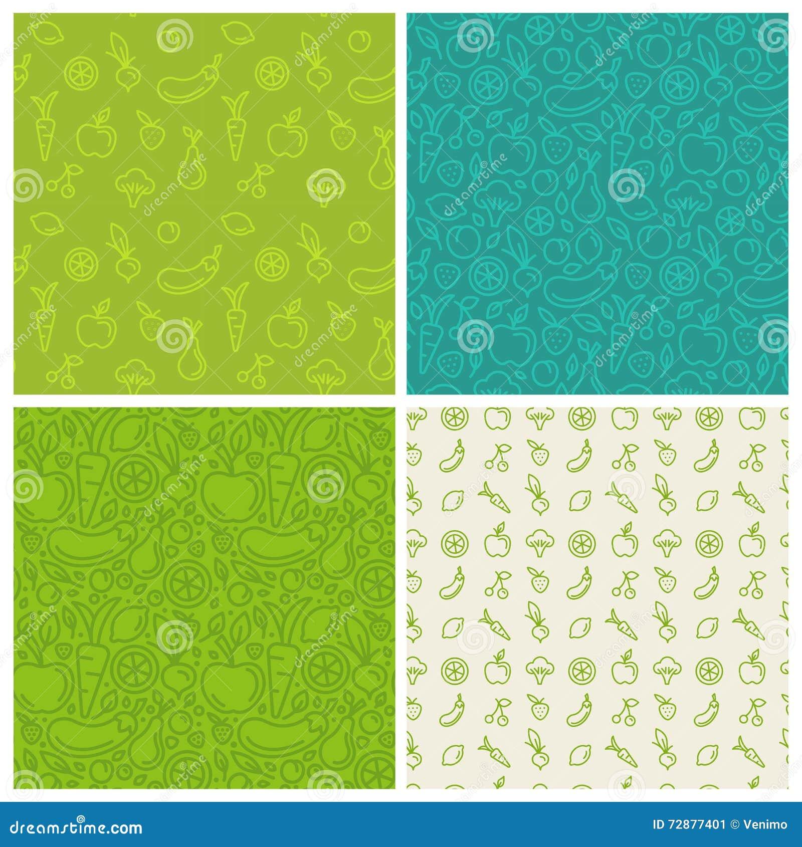 Wektorowy ustawiający zieleni bezszwowi wzory