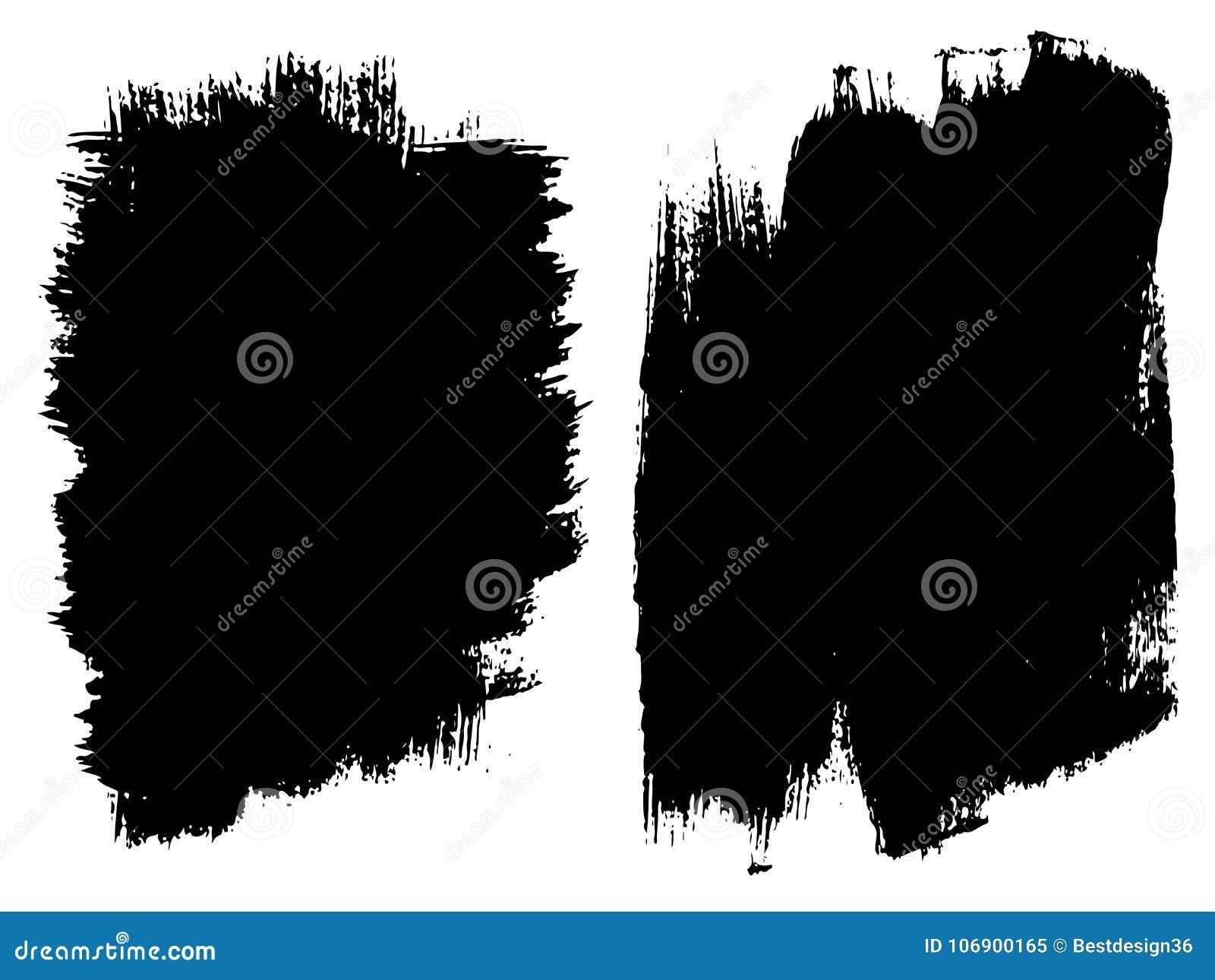Wektorowy ustawiający artystyczna czarna farba, atrament lub akrylowy,