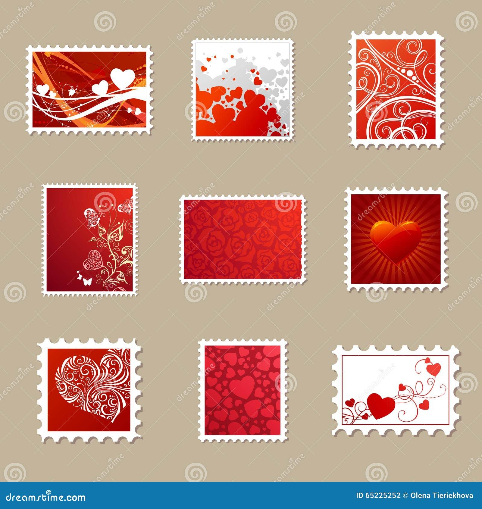 Wektorowy ustawiający walentynka znaczki pocztowi