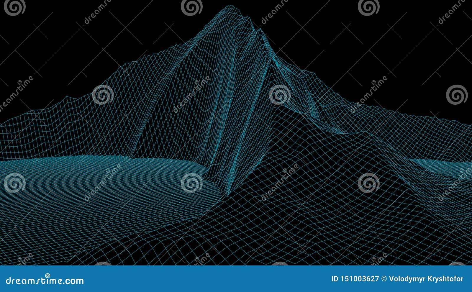 Wektorowy wireframe 3d krajobraz Siatki ilustracja