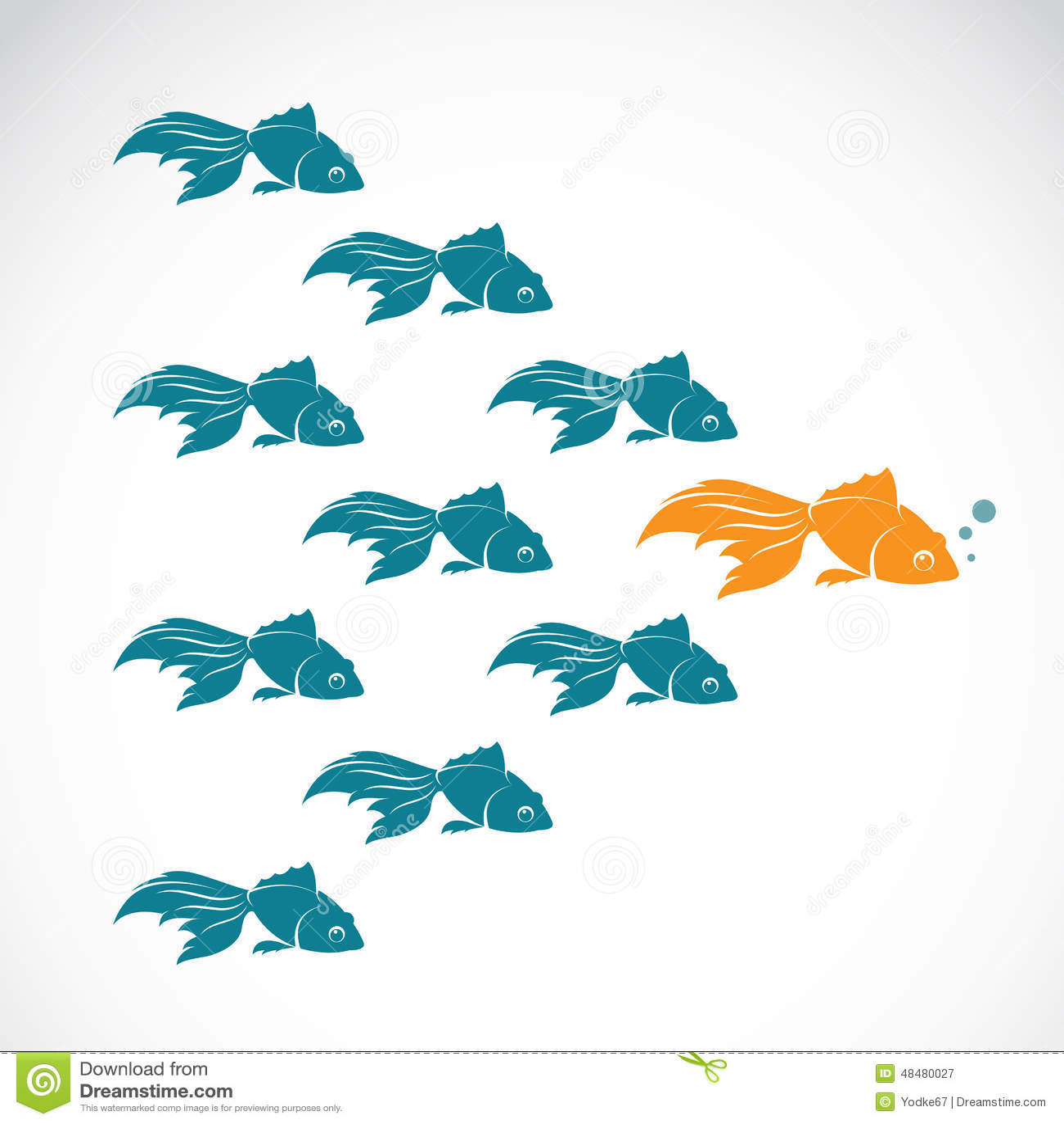 Wektorowy wizerunek goldfish pokazuje lider indywidualności sukces