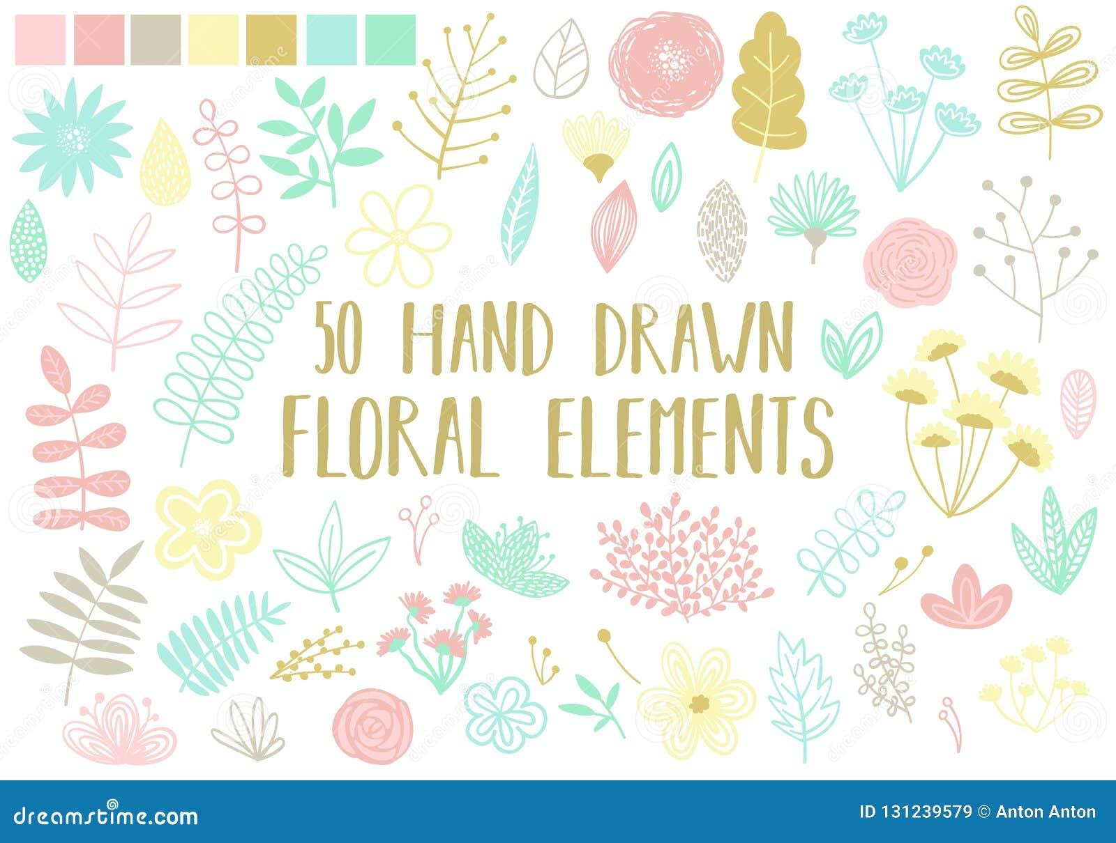 Wektorowy wizerunek pociągany ręcznie kwieciści elementy na lekkim tle Kreskówki ilustracja set odosobneni kwiaty, liście i bl,