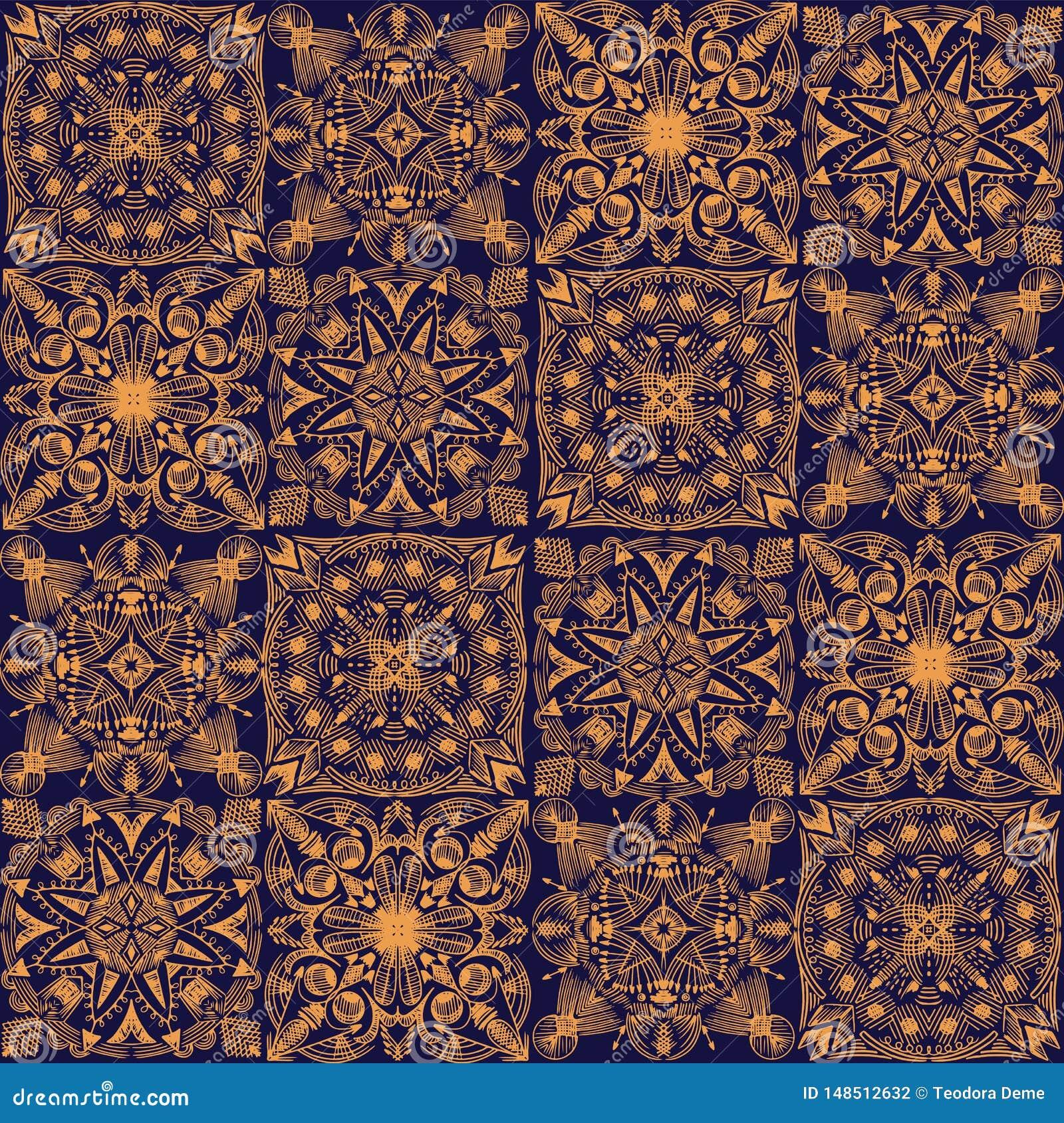Wektorowy złoty plemienny symmetric kafelkowy bezszwowy wzór na ciemnym tle
