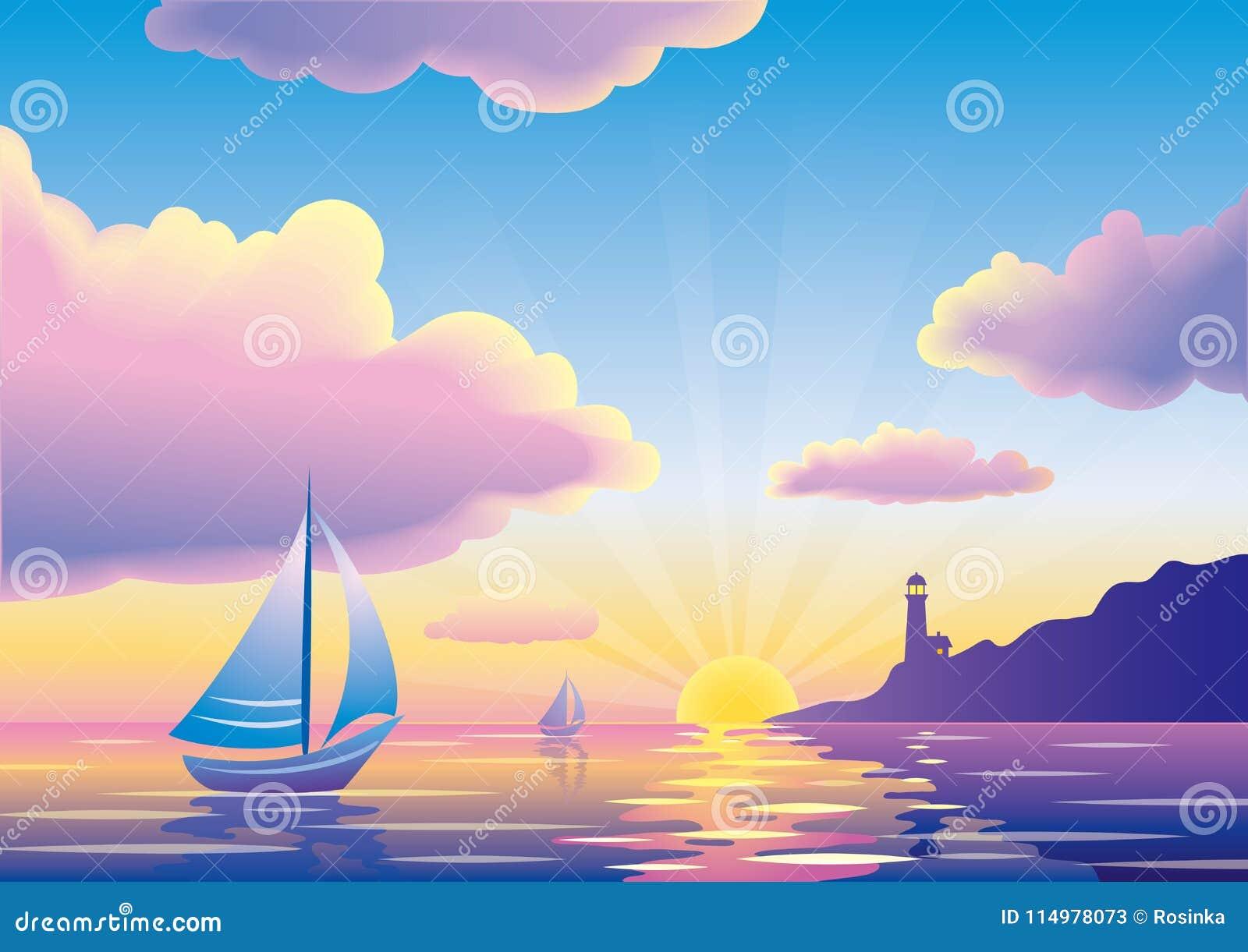 Wektorowy zmierzchu, wschodu słońca seascape z lub