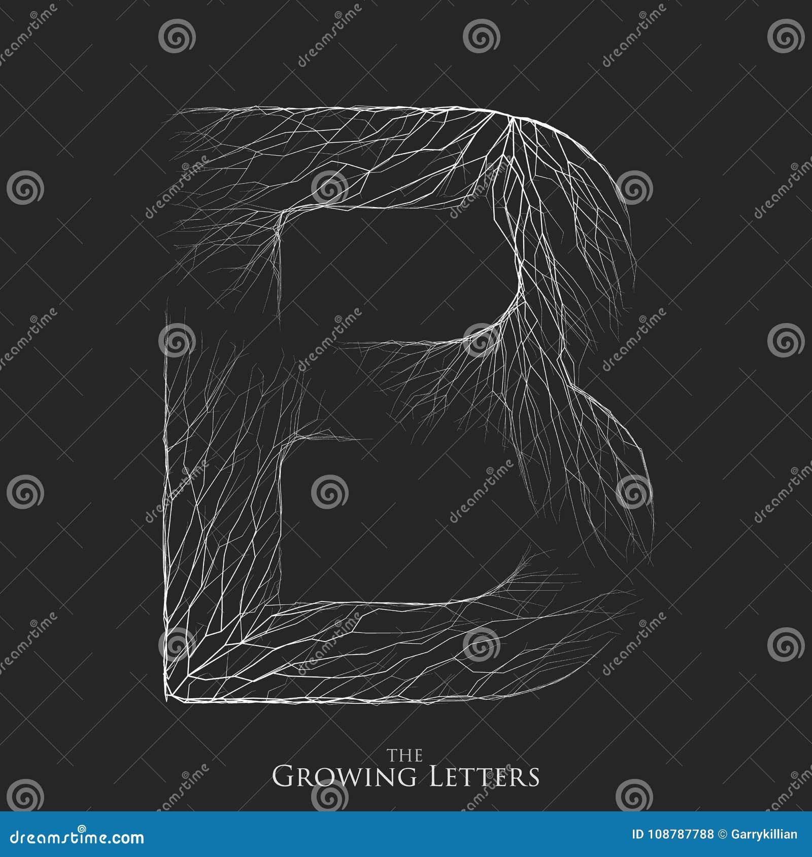 Wektoru listowy b gałęziasty lub krakingowy abecadło B symbolu składać się z rosnąć białe linie Łamający listy _