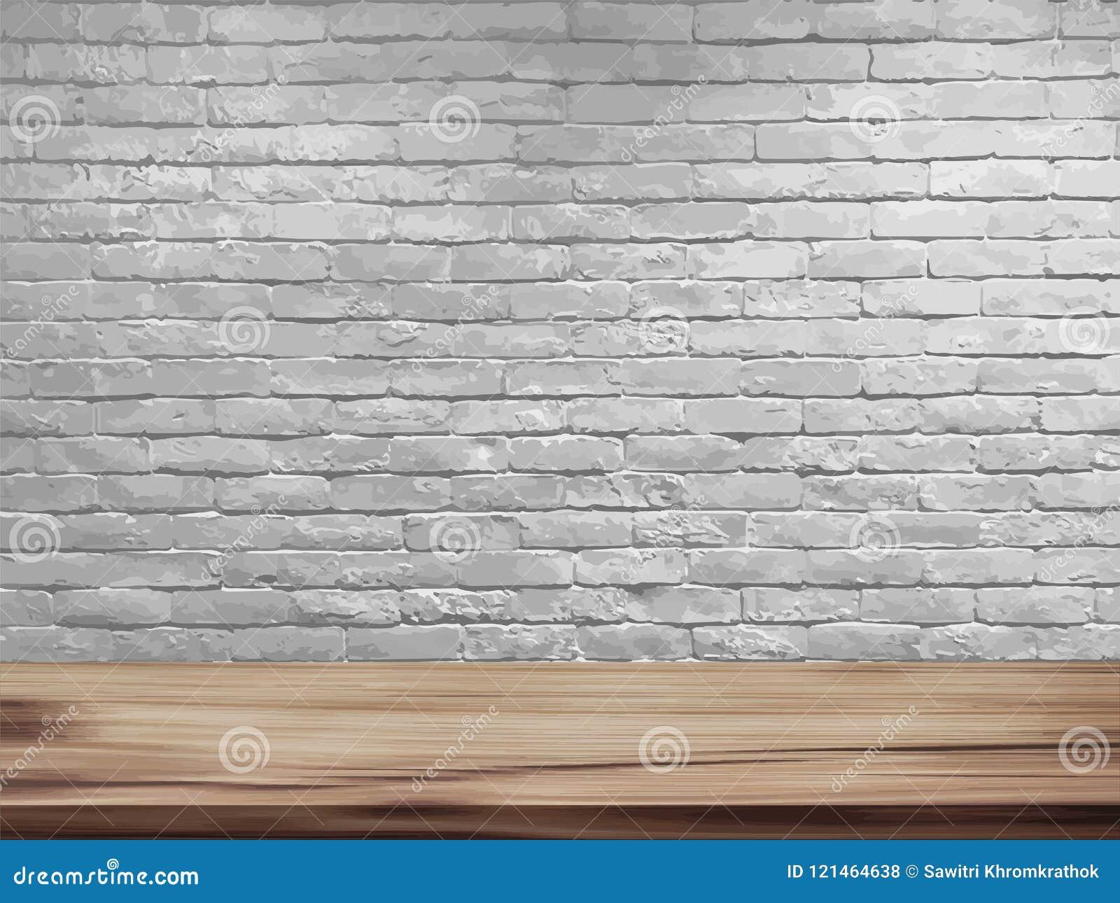 Wektoru pusty wierzchołek naturalny drewniany stół i retro biały ściana z cegieł tło
