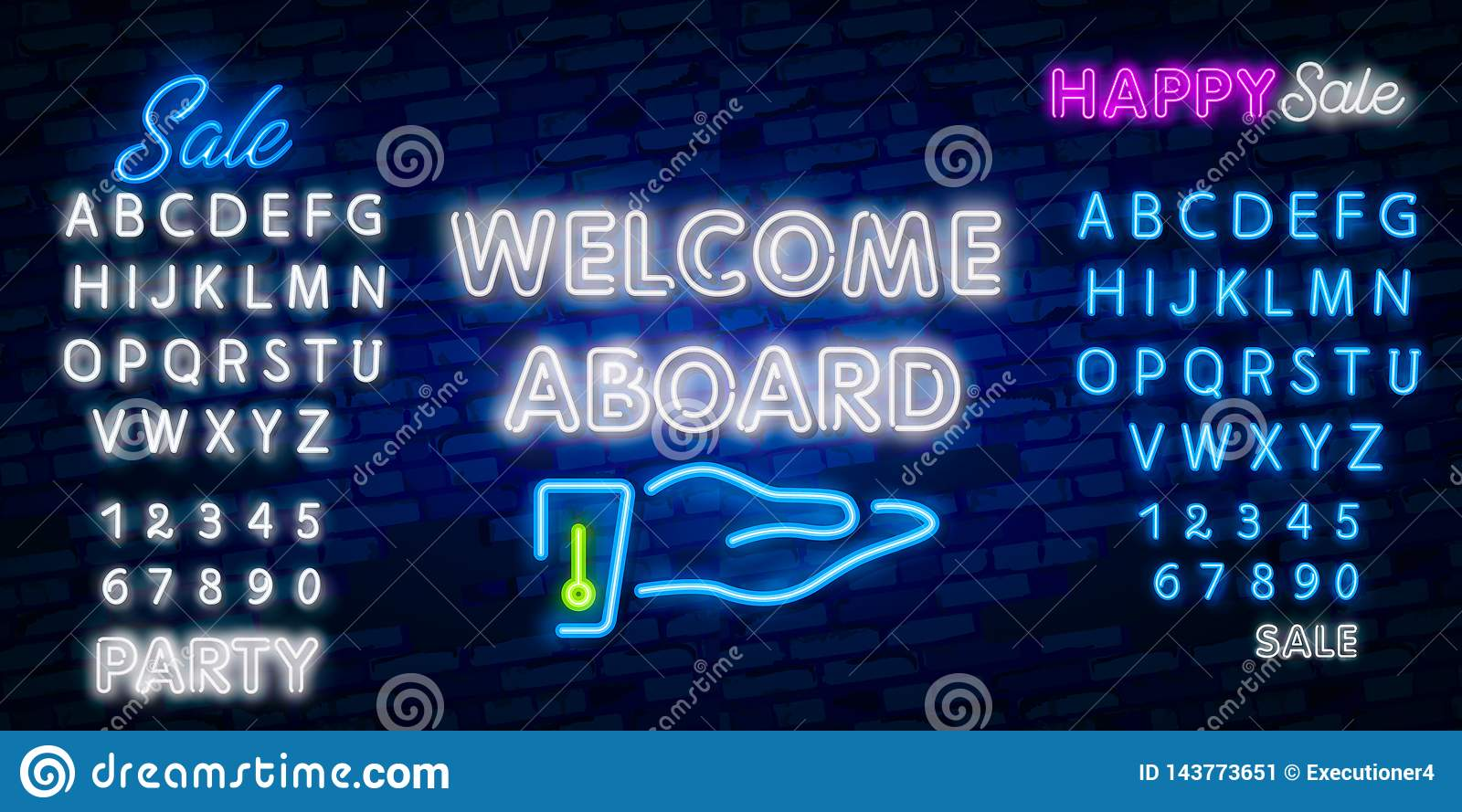 Welcome Aboard Neon Text Vector Welcome Neon Sign Design