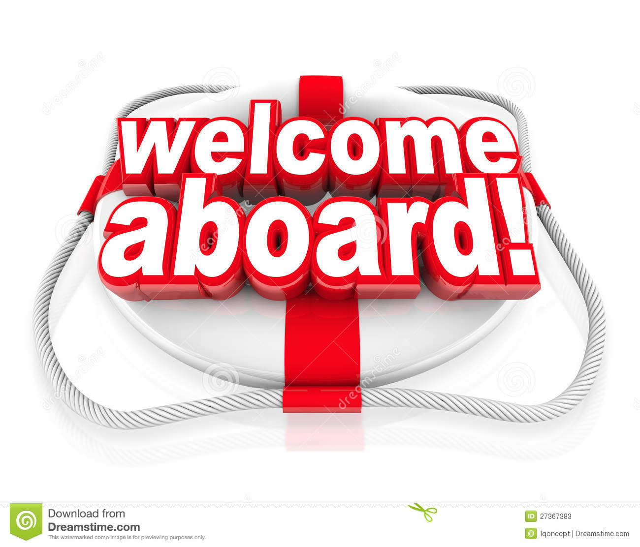 Welcome Aboard words on a white and red life preserver to greet you ...