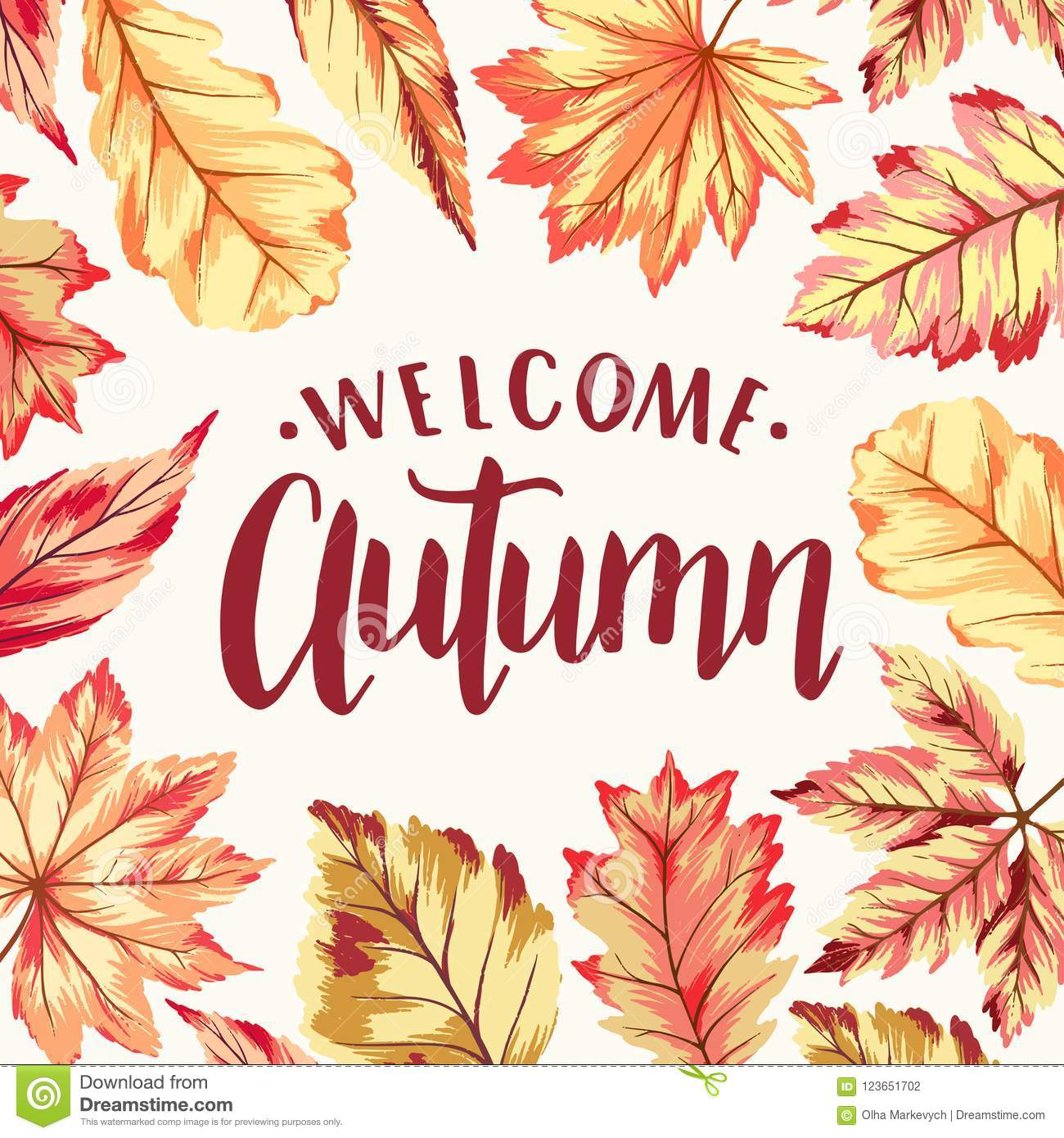 welcome autumn frame stock vector illustration of nature 123651702