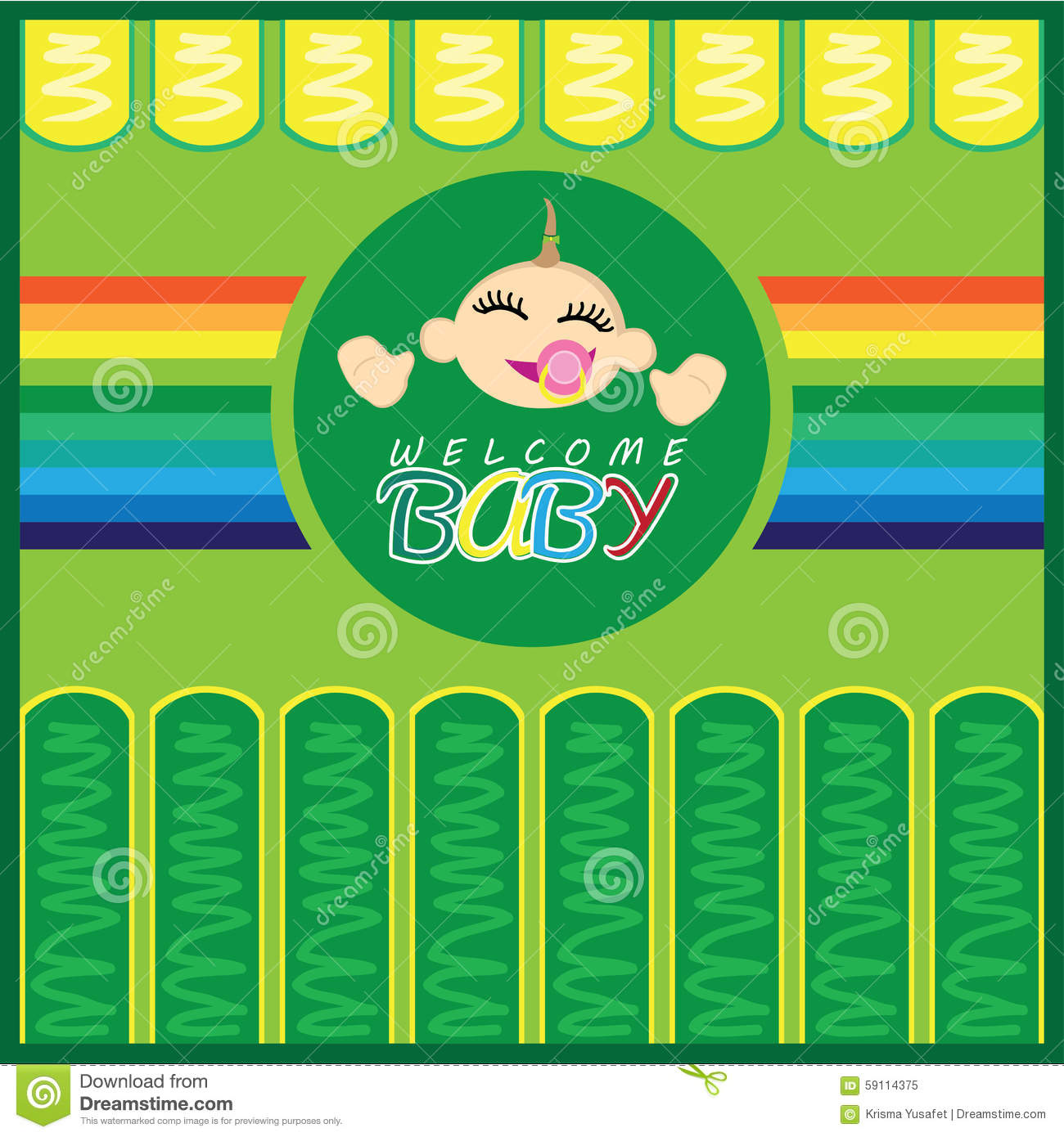 Welcome Baby Born Greeting Card Stock Illustration Illustration Of
