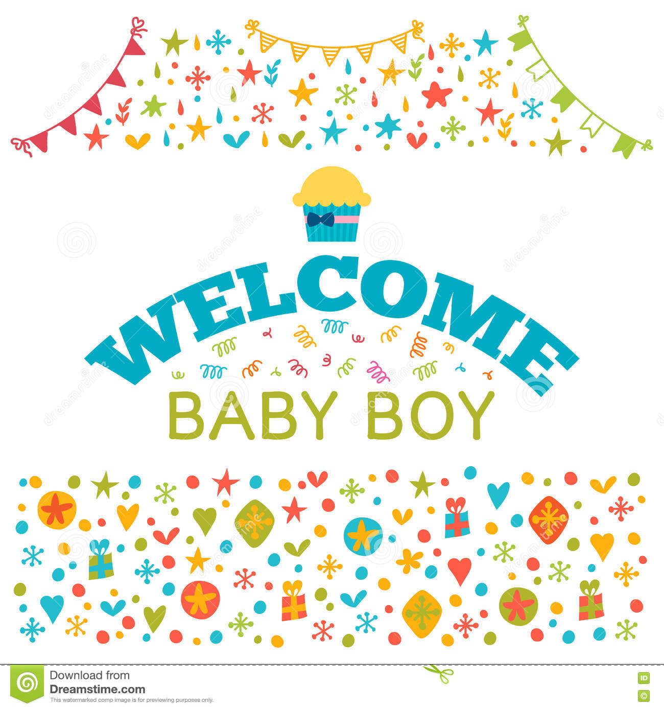 Welcome Baby Boy. Baby Boy Shower Card. Baby Shower Greeting Car