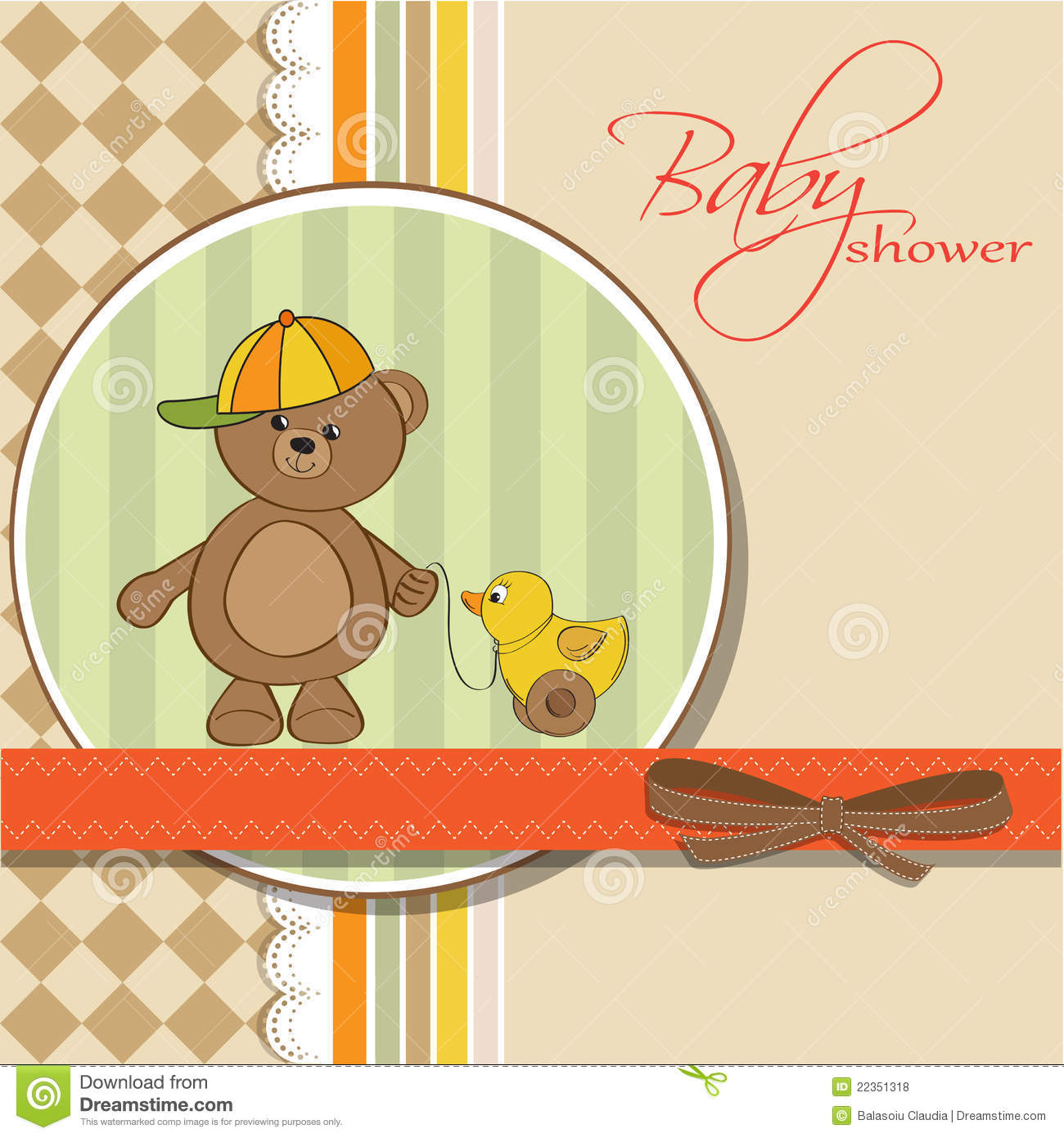 Welcome Baby Card With Boy Teddy Bear And His Duck Stock Illustration - Image: 22351318