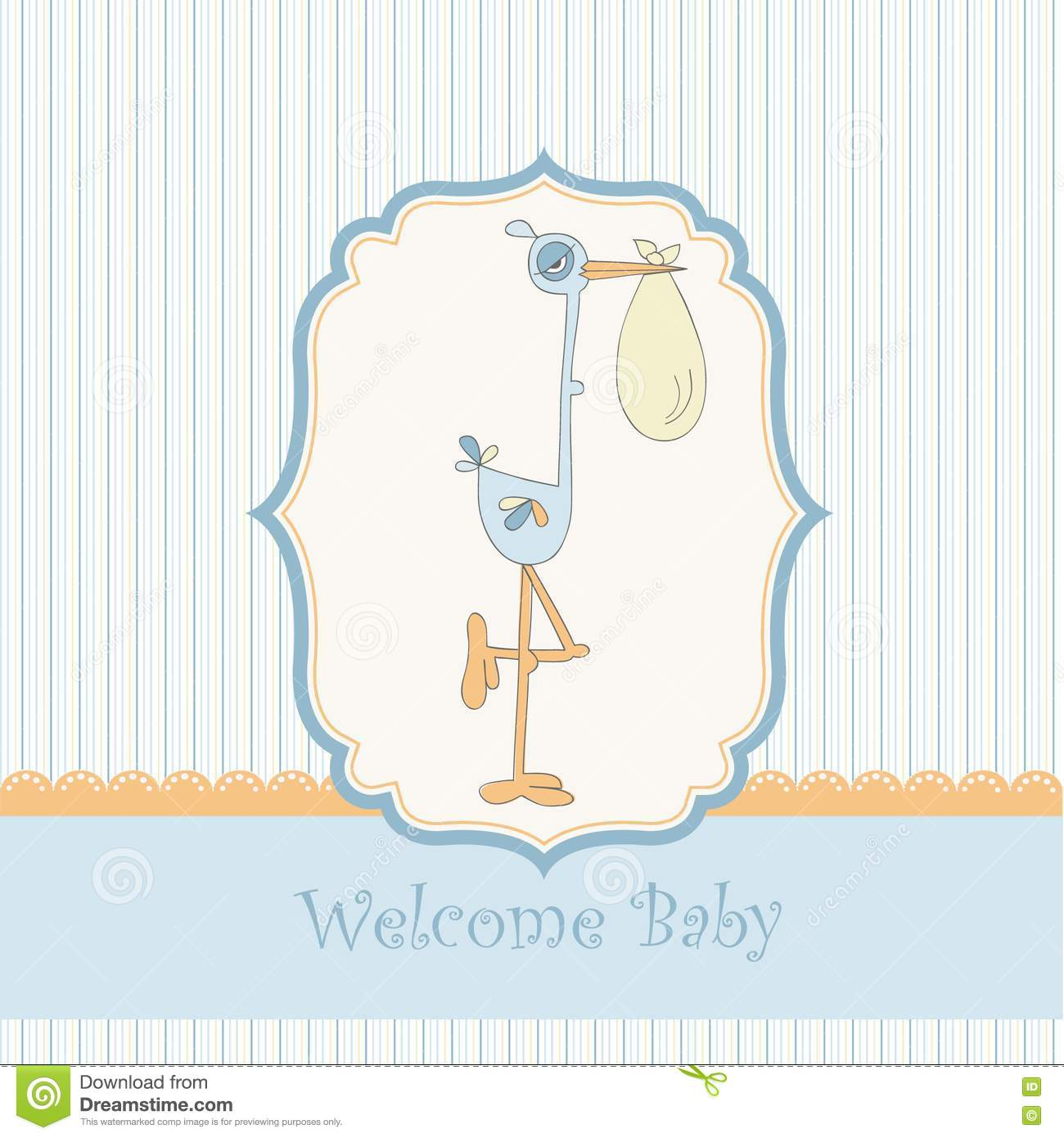 welcome baby card with stork royalty free stock images