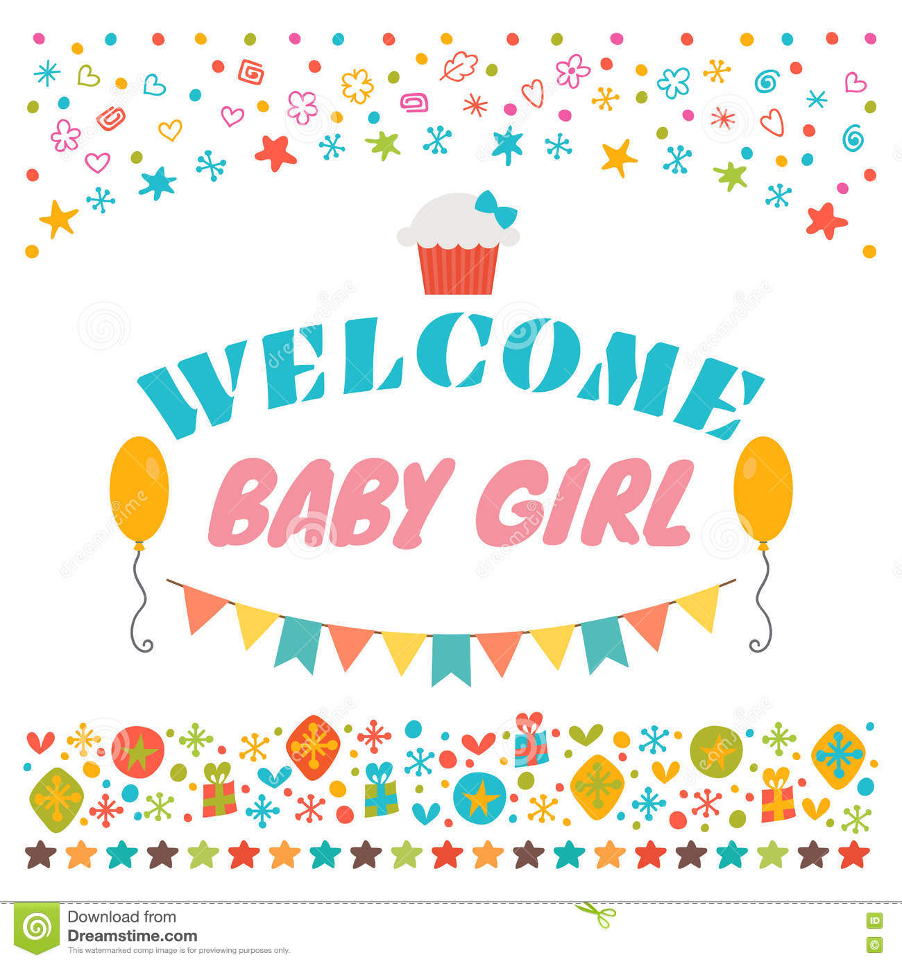 Welcome baby girl announcement card baby shower greeting card welcome baby girl announcement card baby shower greeting card kristyandbryce Images