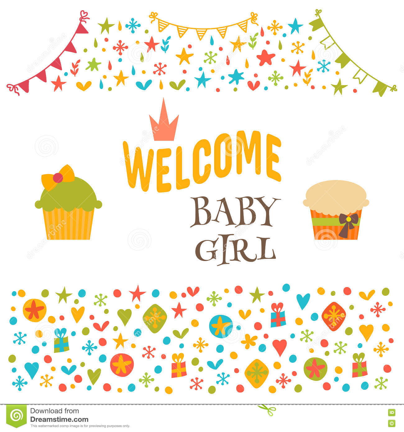 Welcome Baby Girl Baby Girl Shower Card Baby Shower Greeting C