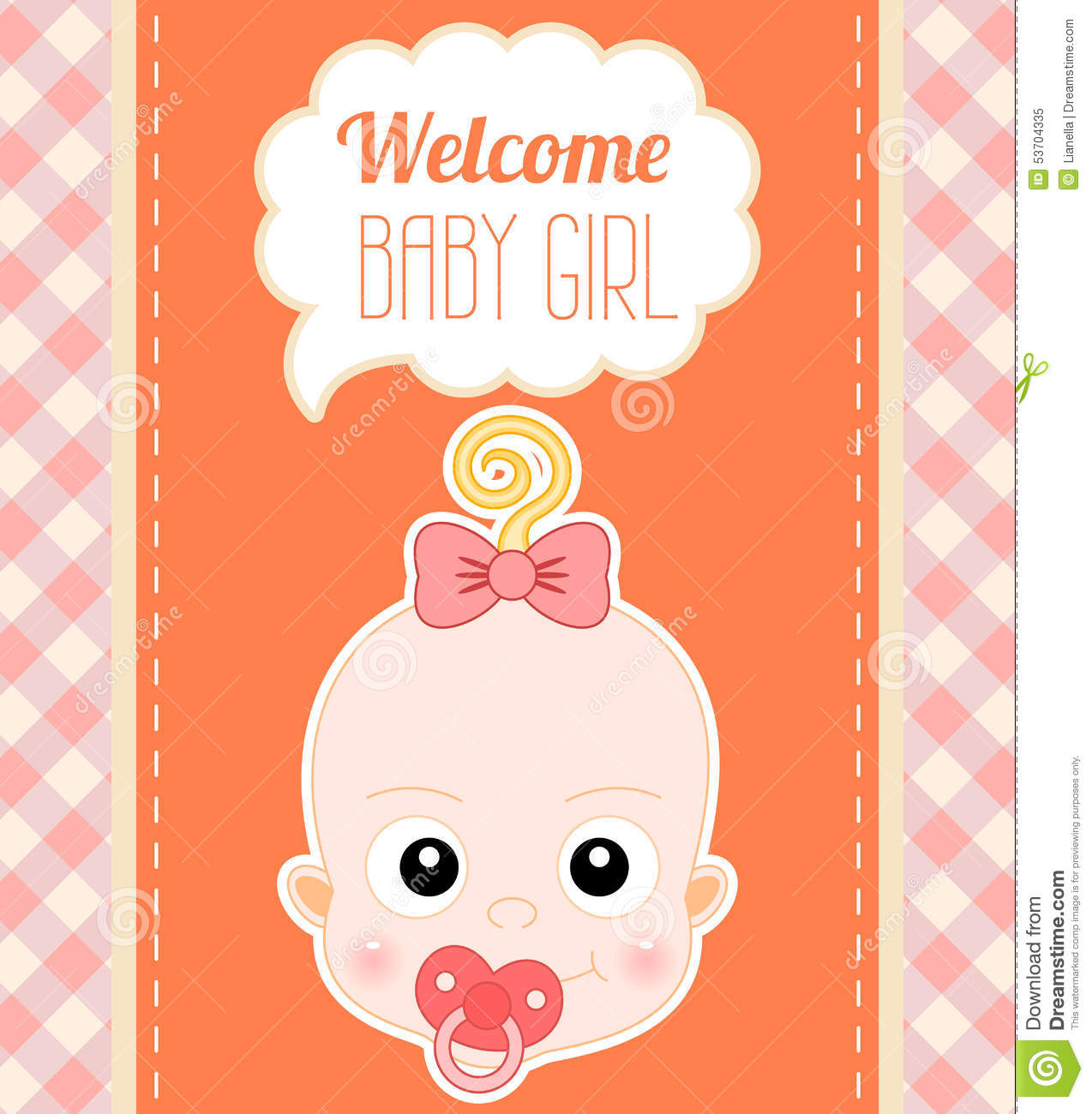 welcome baby girl card stock vector  illustration of