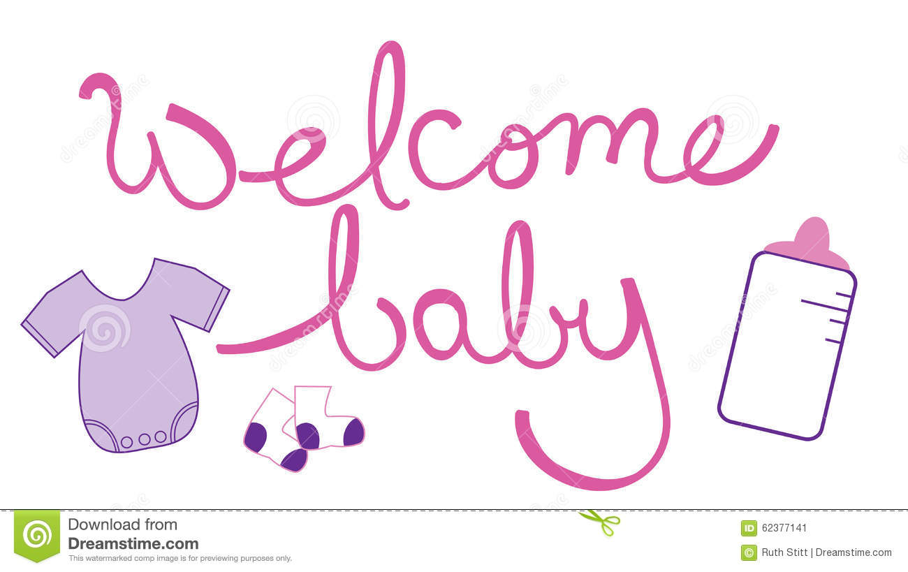 Welcome Baby Girl Stock Vector - Image: 62377141