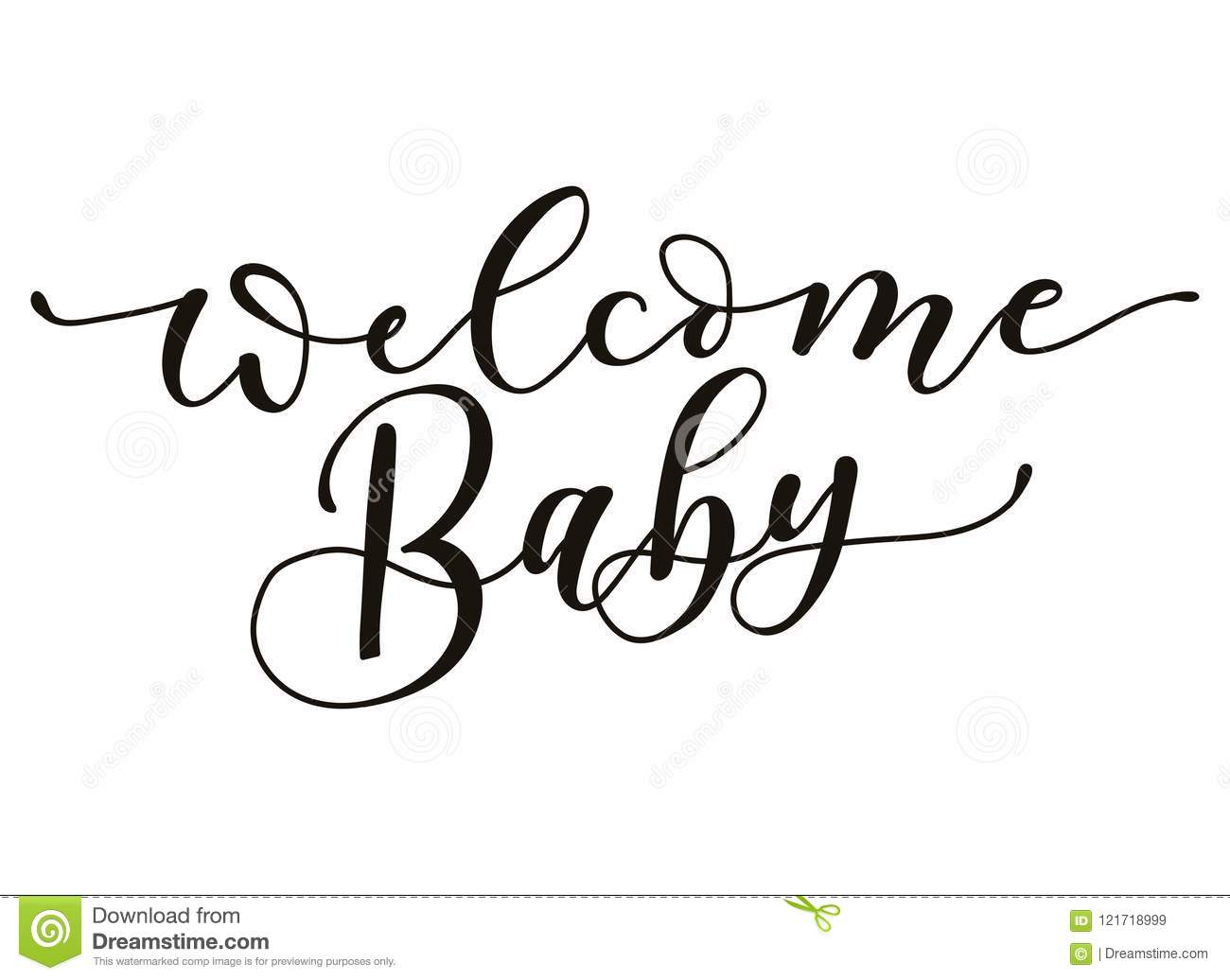 welcome baby lettering inscription isolated on white background