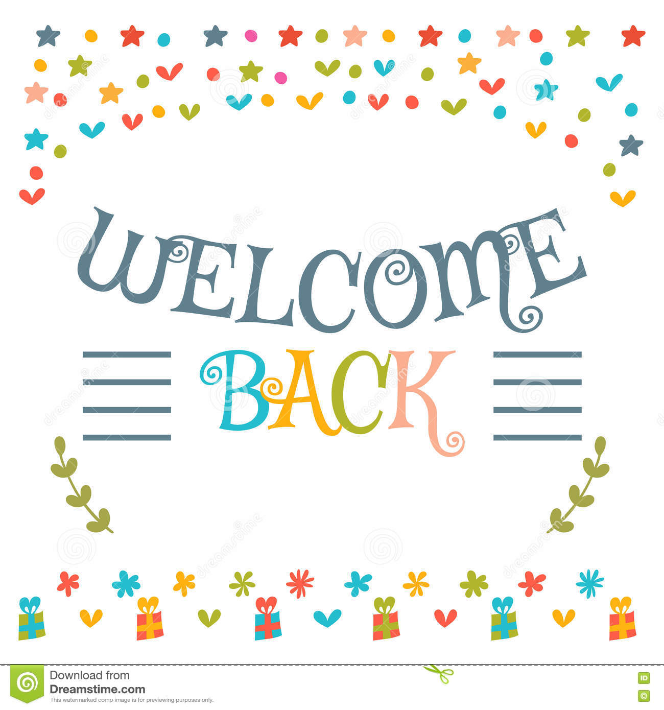 Welcome back text with colorful design elements cute greeting c download comp m4hsunfo