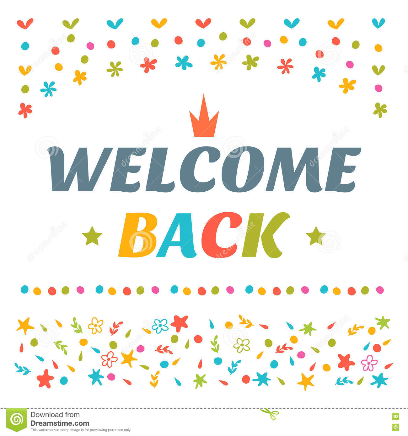 Welcome Back Text With Colorful Design Elements ...