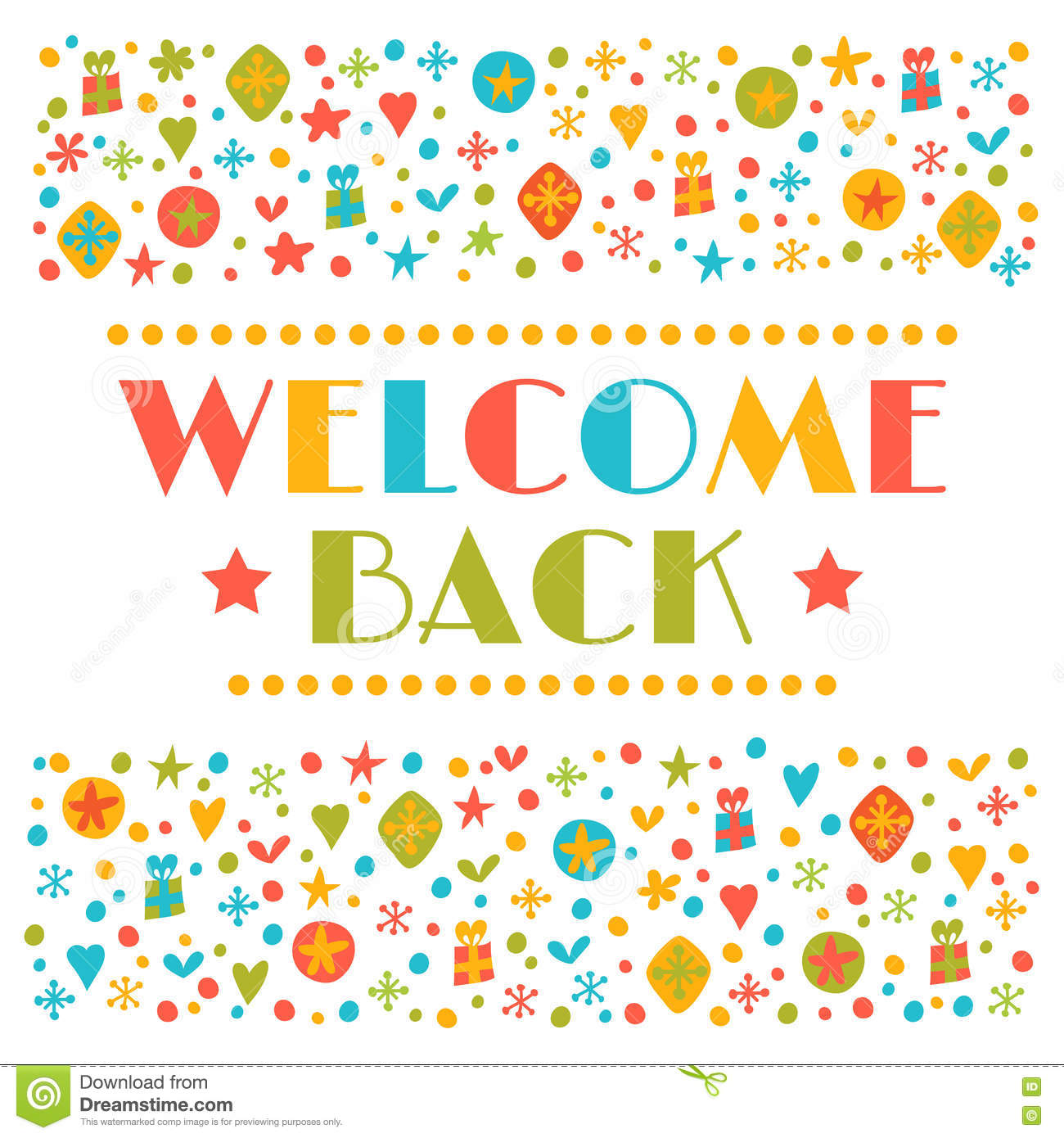 Welcome back text with colorful design elements greeting card welcome back text with colorful design elements greeting card kristyandbryce Gallery