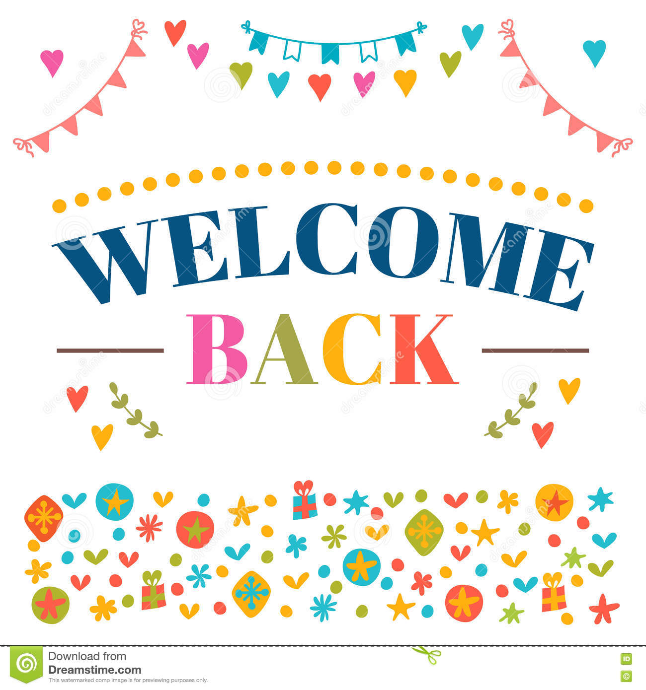 Welcome home text with colorful design elements greeting for Back to home pics