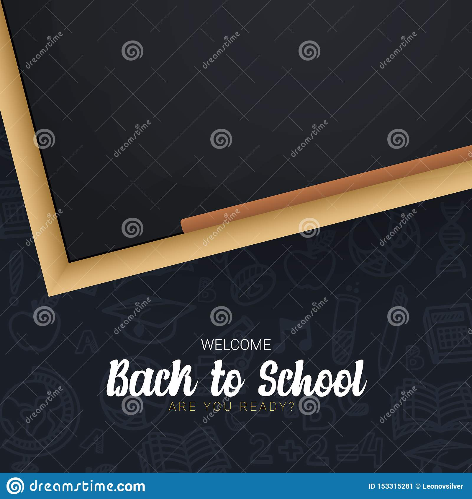 Welcome Back to School banner with chalkboard and dark hand draw doodle background.