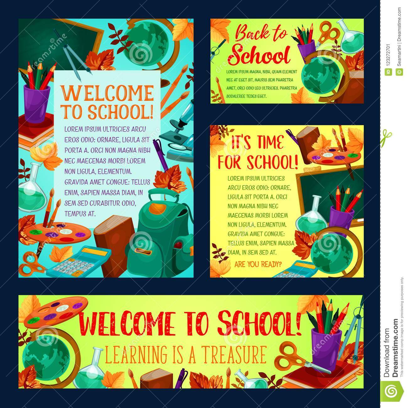 Back To School Banner And Greeting Card Design Stock Vector