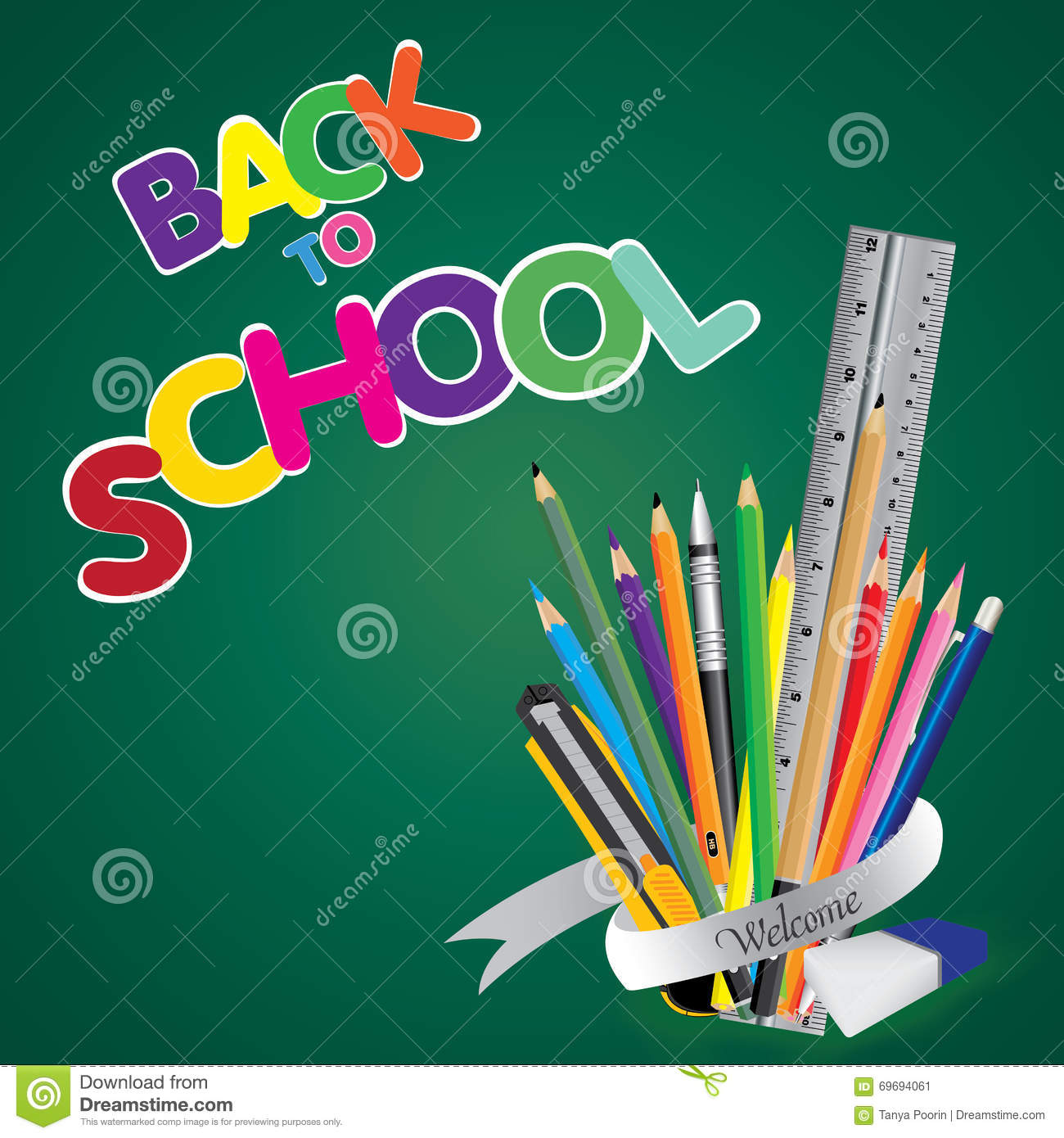 Welcome Back To School. Board With Object Tool For School ...