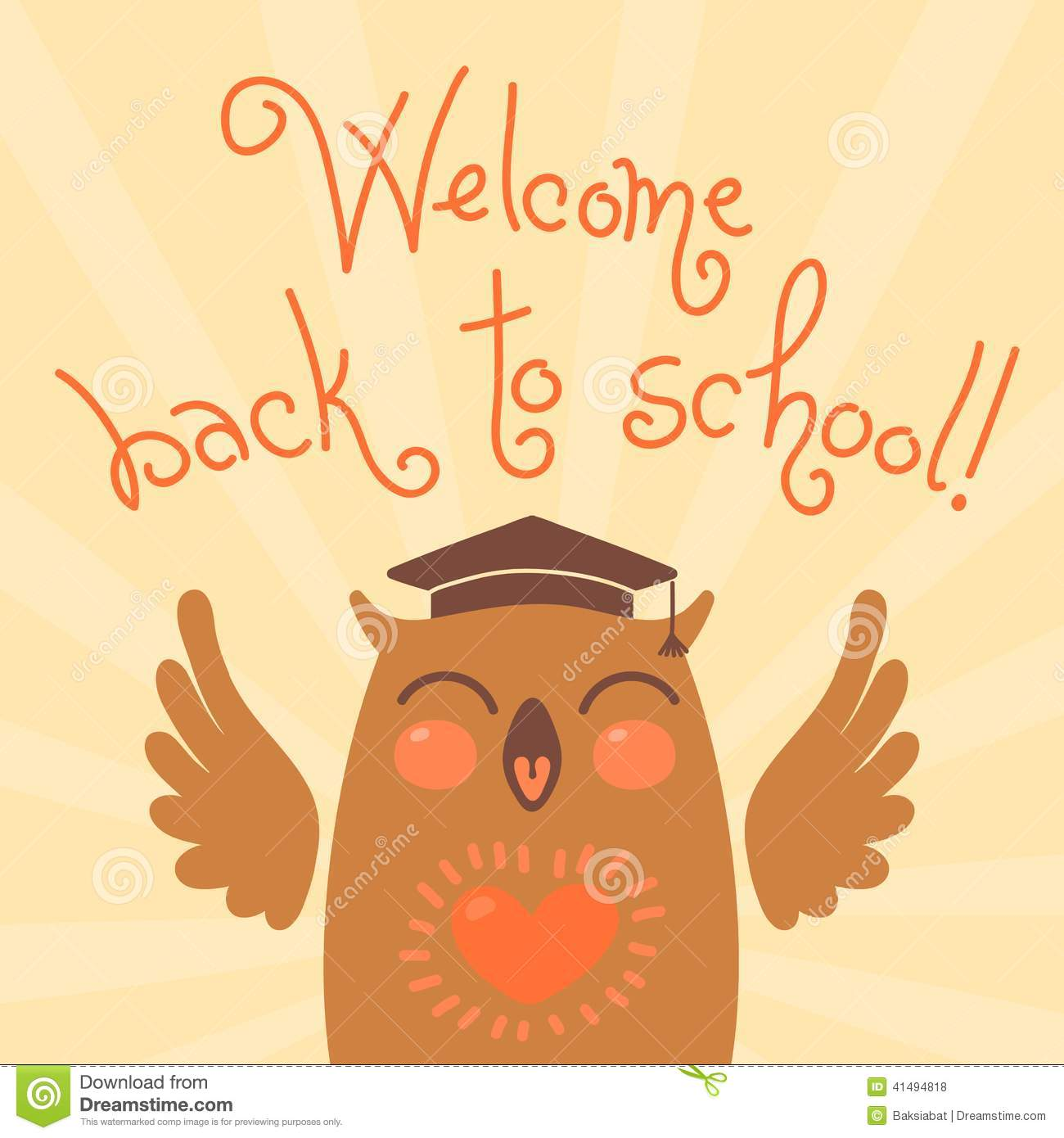 welcome back to school  card with an owl  stock vector