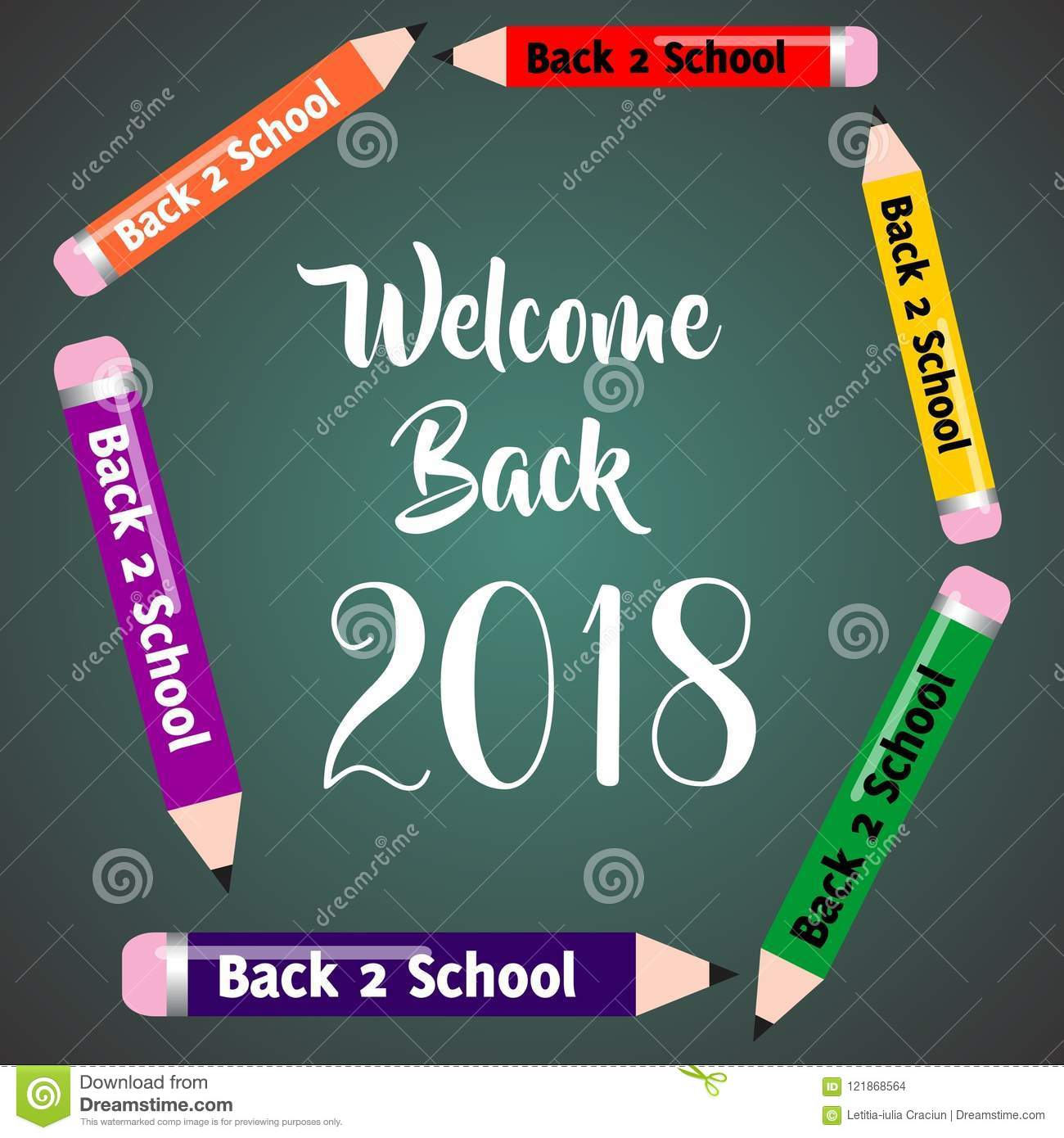 Welcome Back to School 2018 Cute Banner Invitation Card Poster