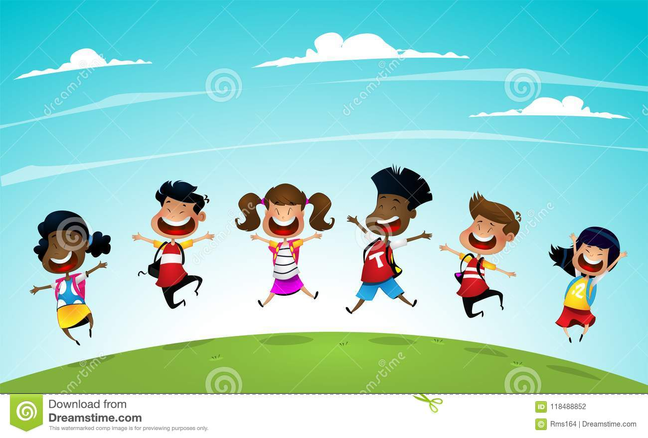 Welcome Back To School Cute School Kids Stock Vector Illustration Of Female Caucasian 118488852